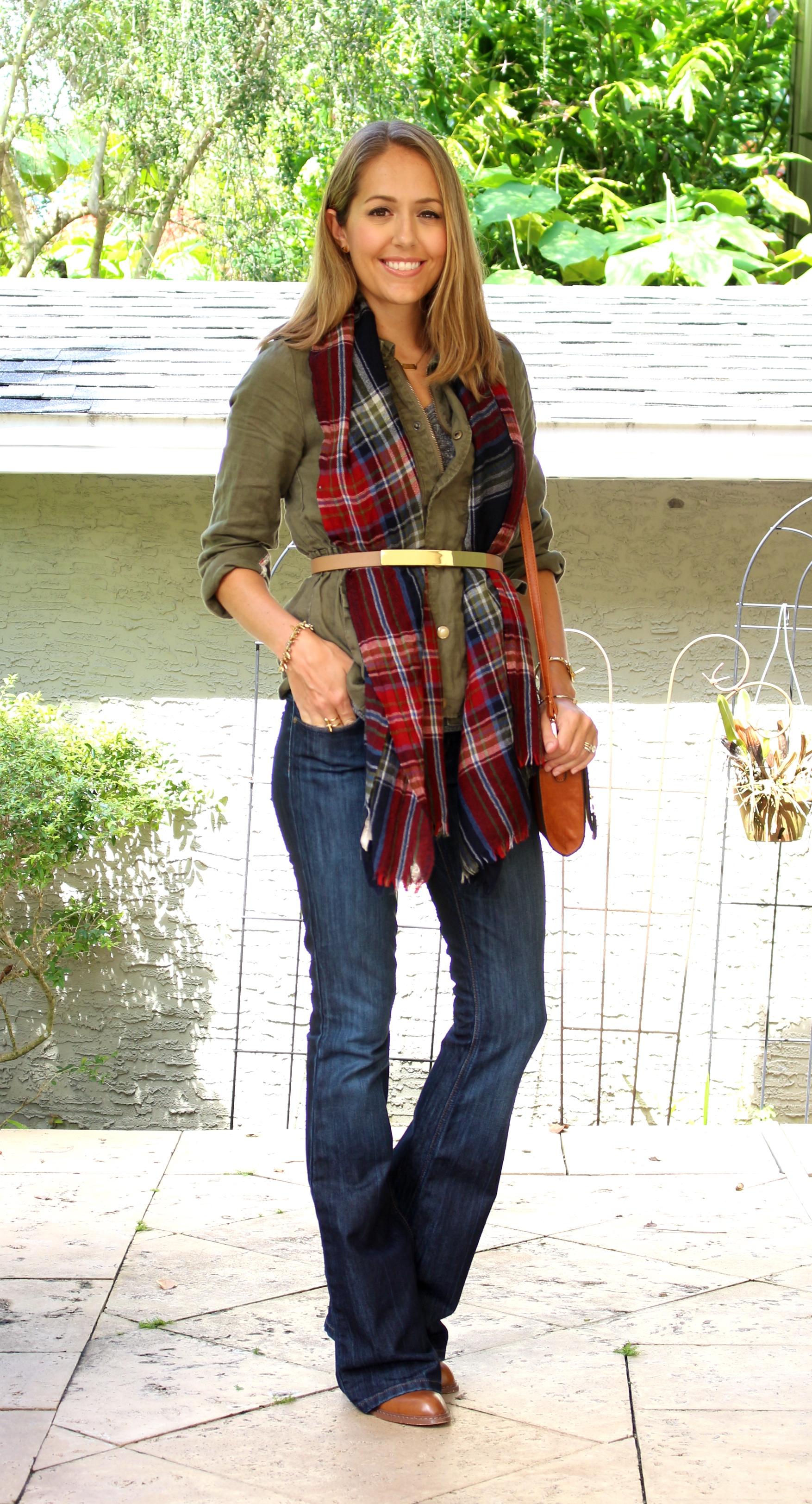 Army jacket, plaid scarf, flare jeans