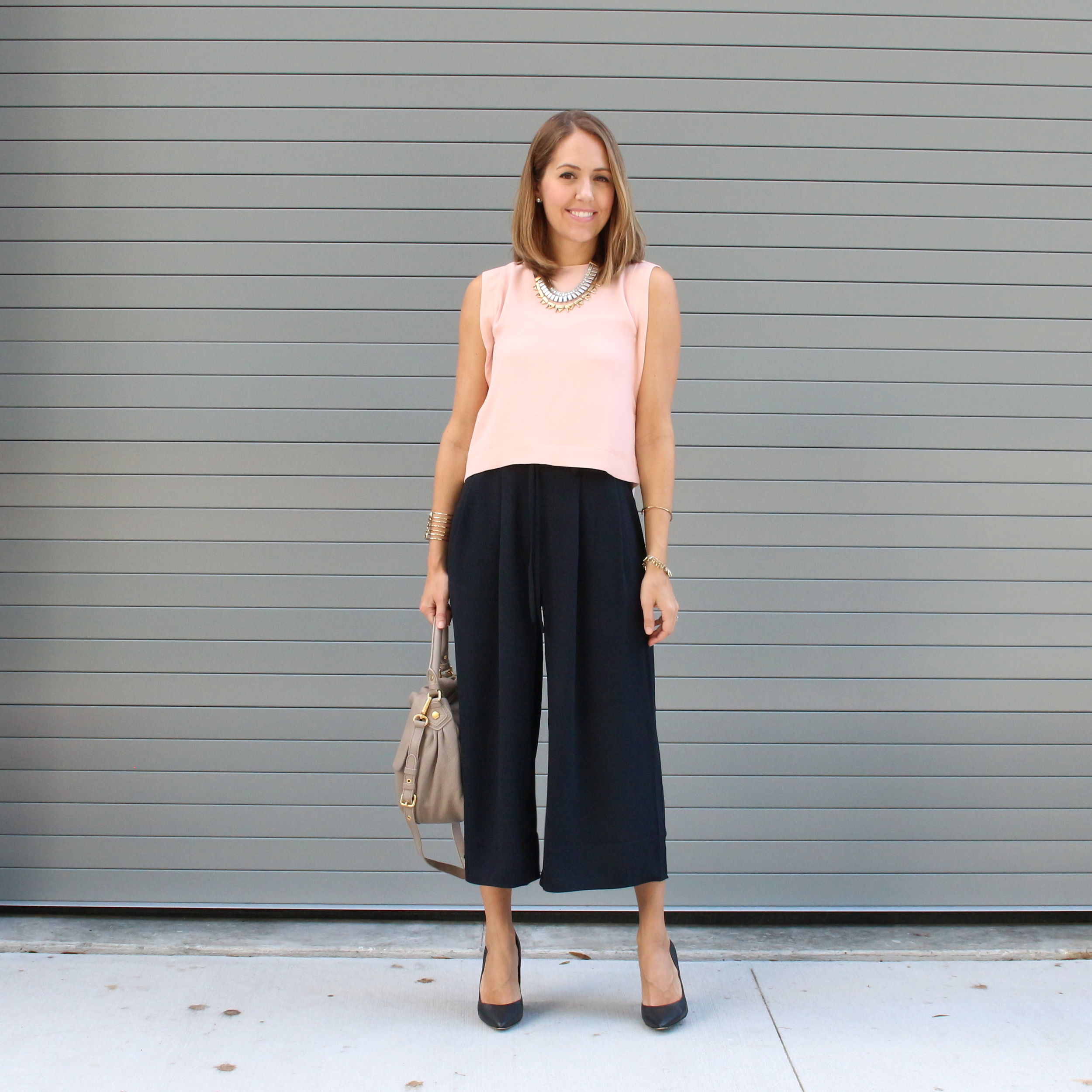 Belle + Sky pale pink top and black coulottes