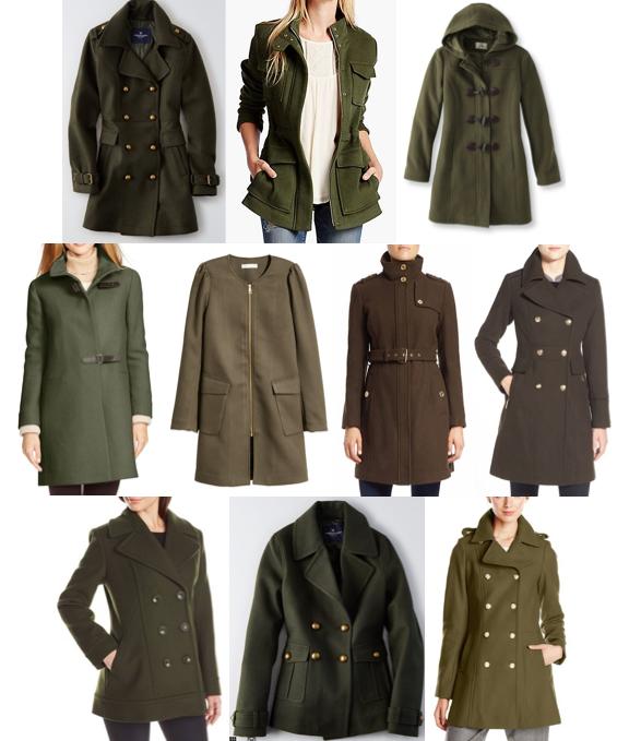 Olive pea coats under $250