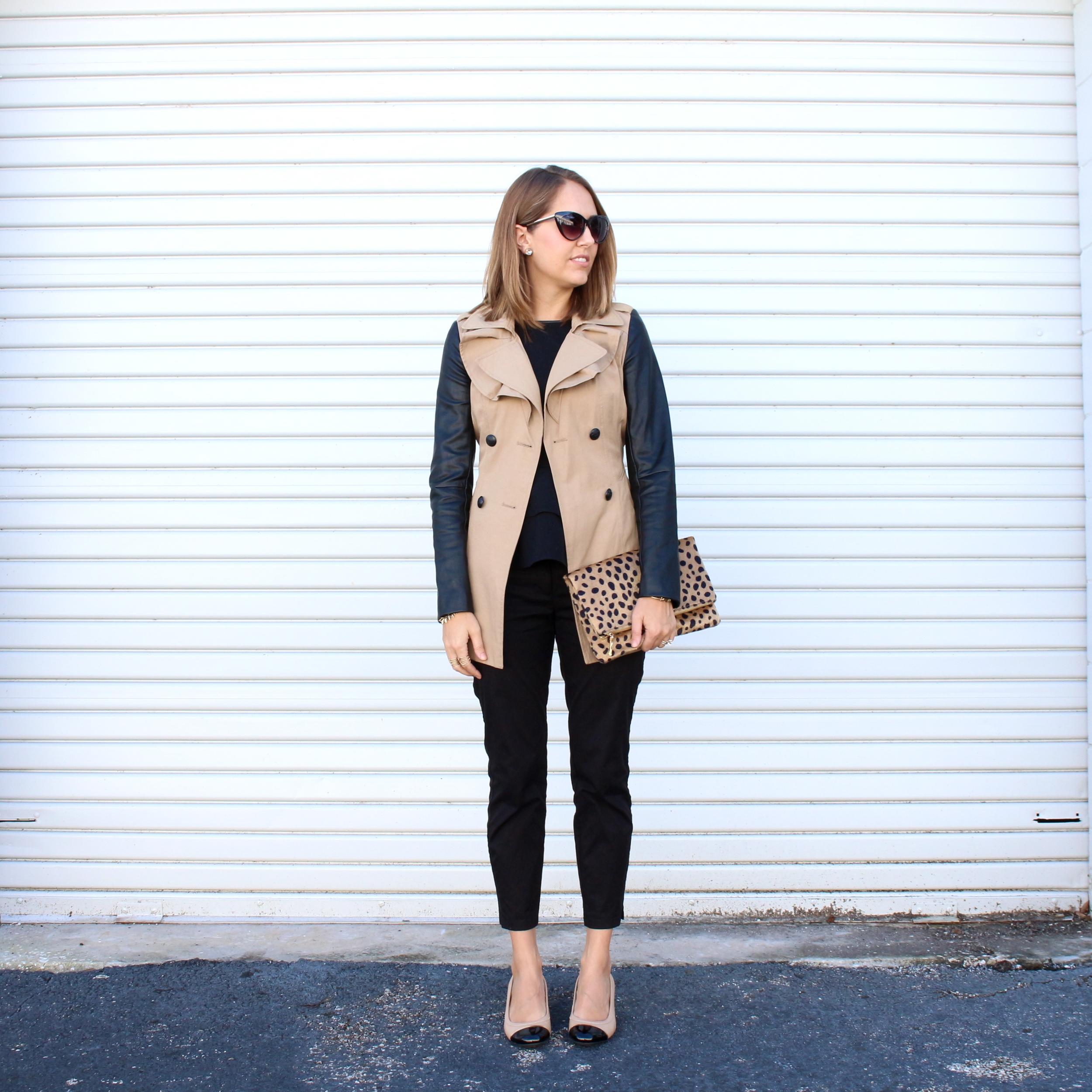 Leather sleeve trench, black dress pants, leopard clutch, cap toe flats