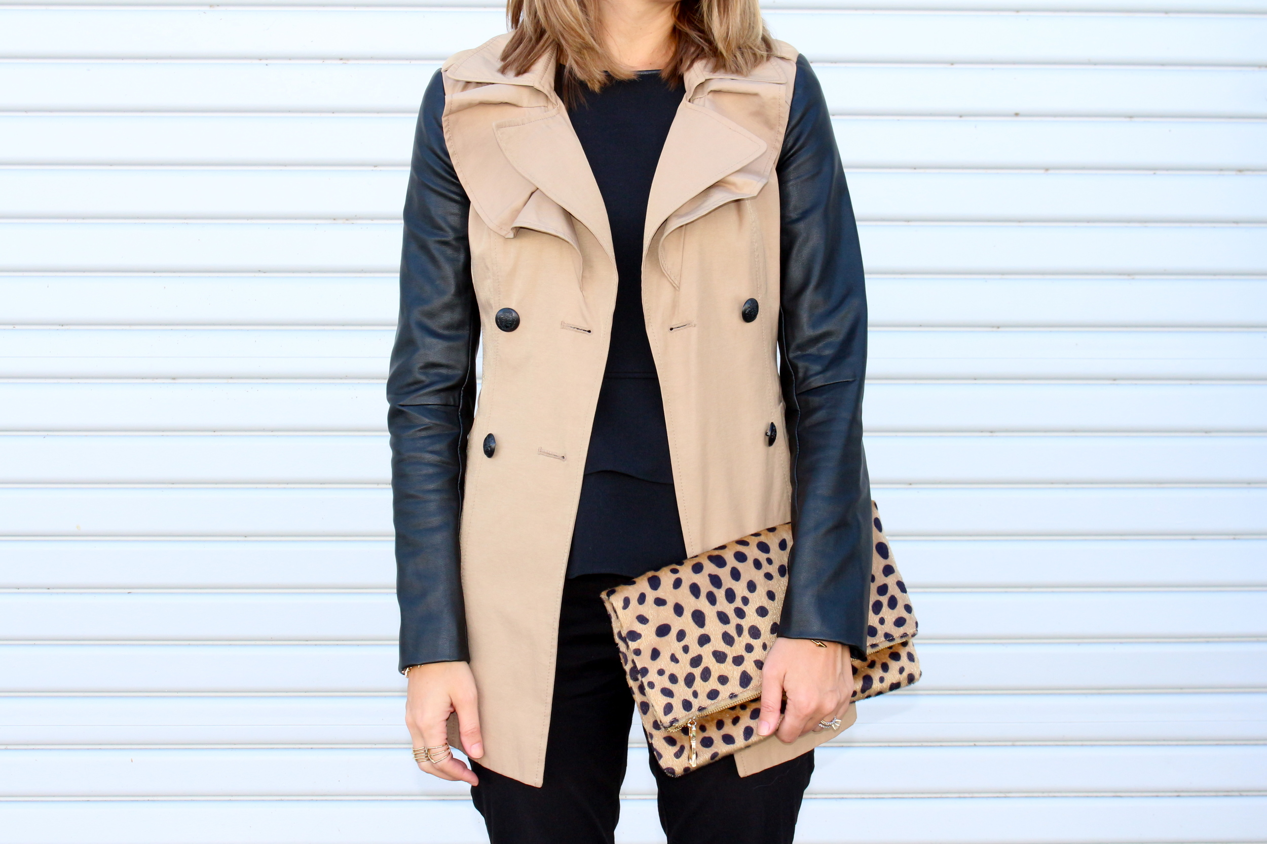 Leather sleeve trench, leopard mohair clutch