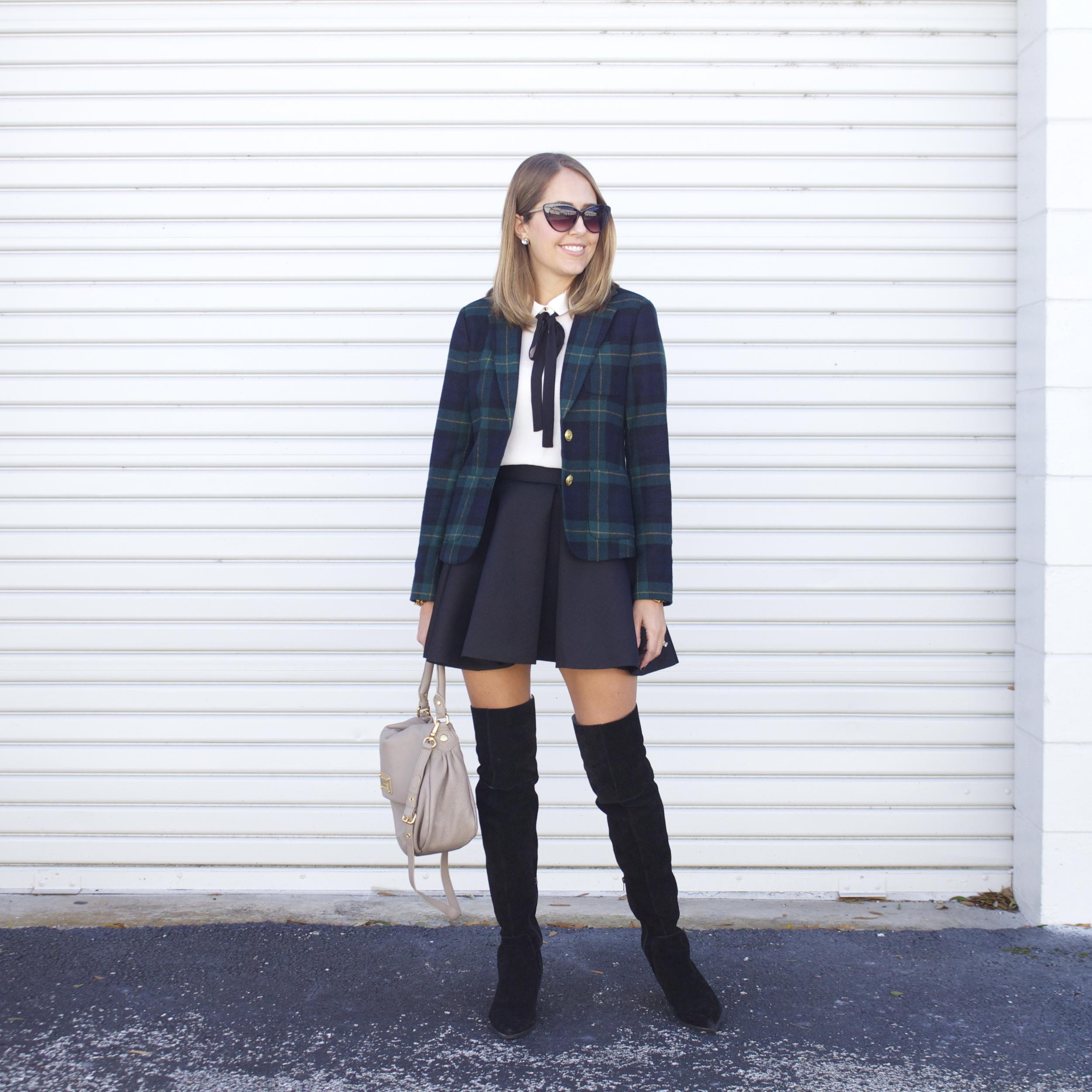 Plaid blazer, tie neck blouse, skater skirt