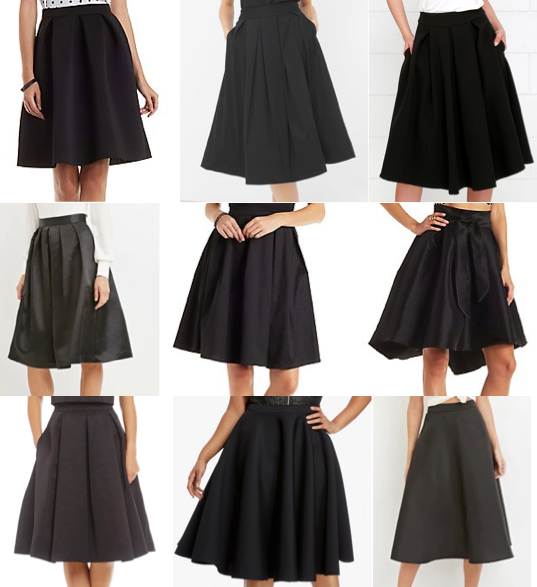 Black midi skirts on a budget