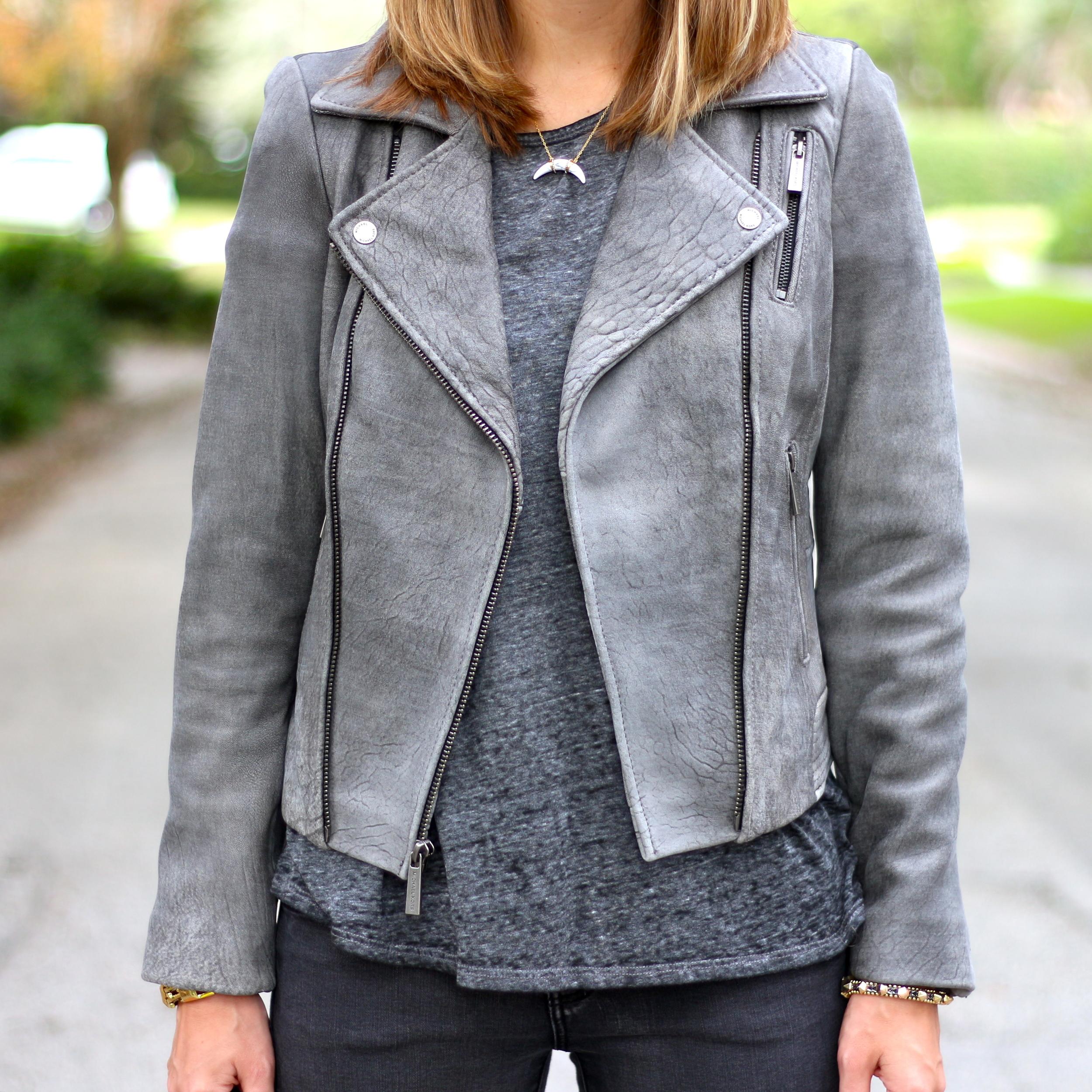 Gray leather jacket, gray tee