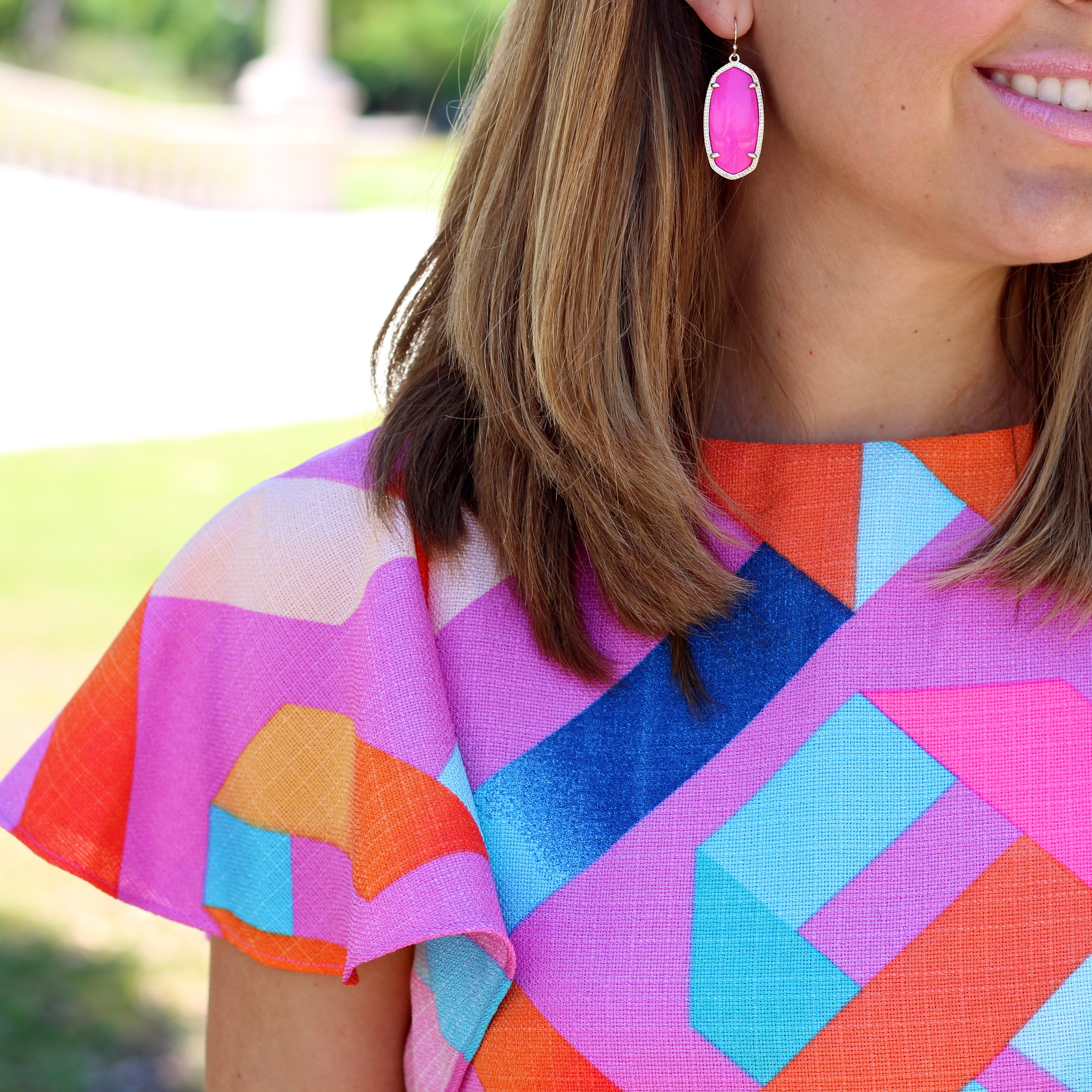 Ruffle sleeve dress, Kendra Scott pink earrings