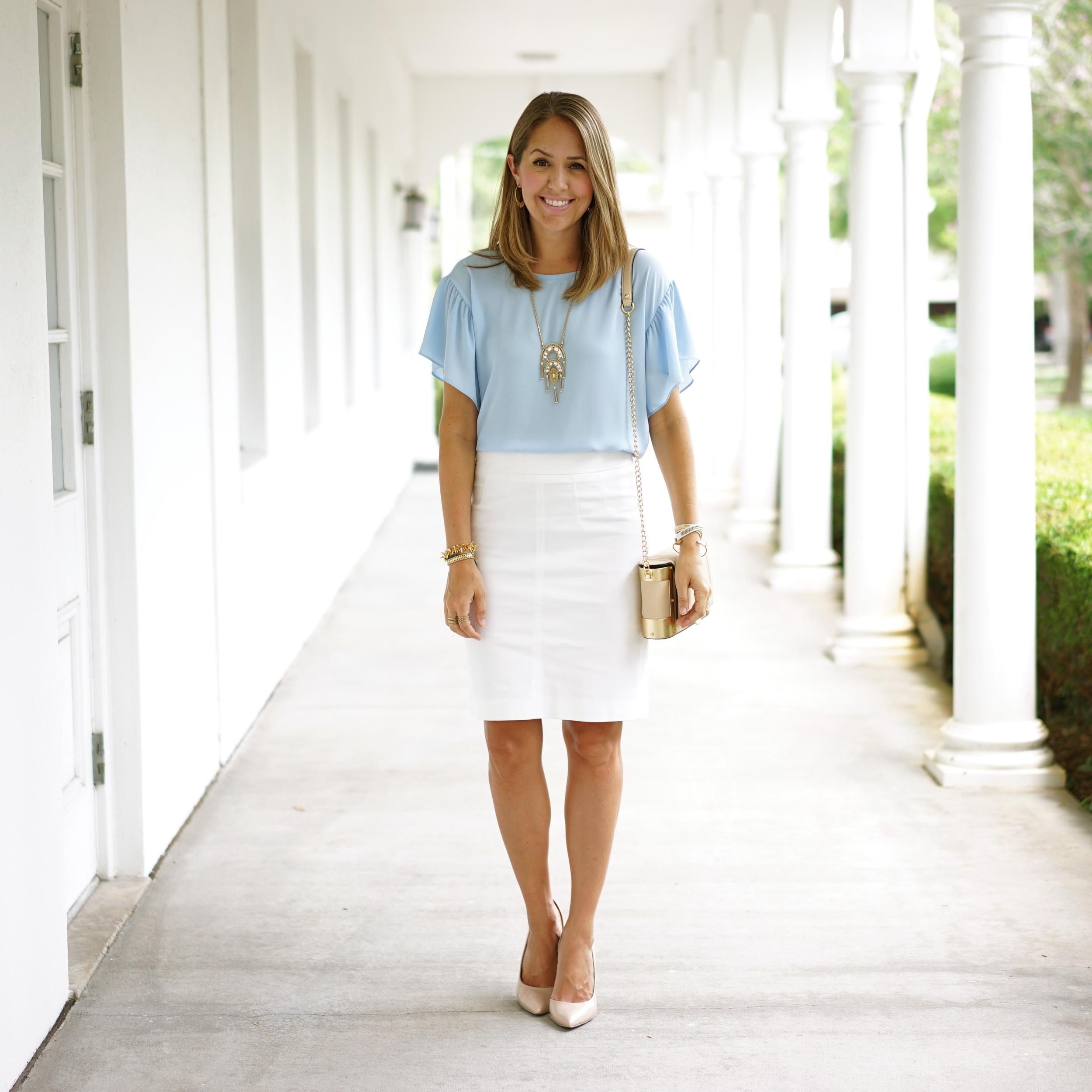Baby blue ruffle sleeve top, white pencil skirt