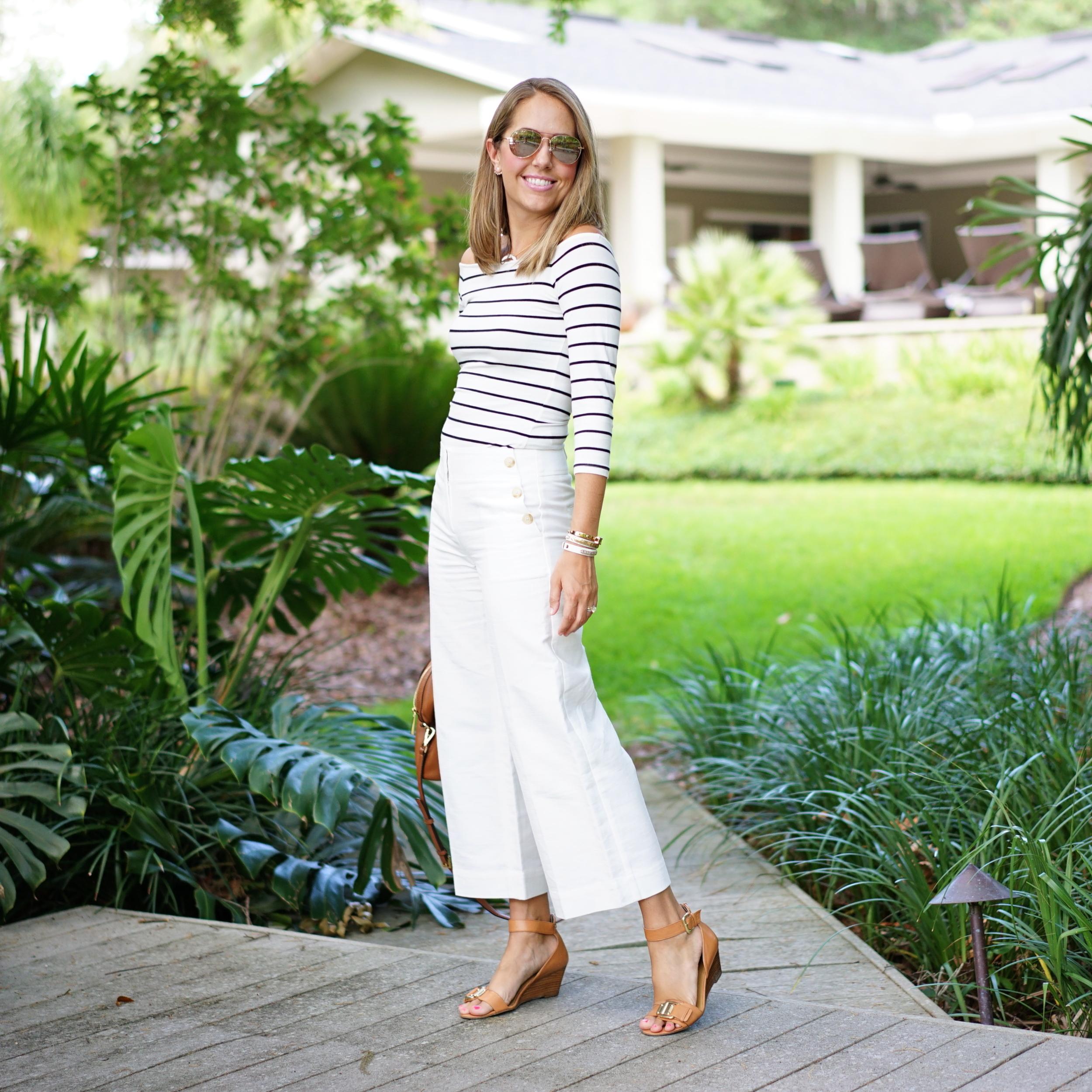 Stripe shirt, white cropped pants