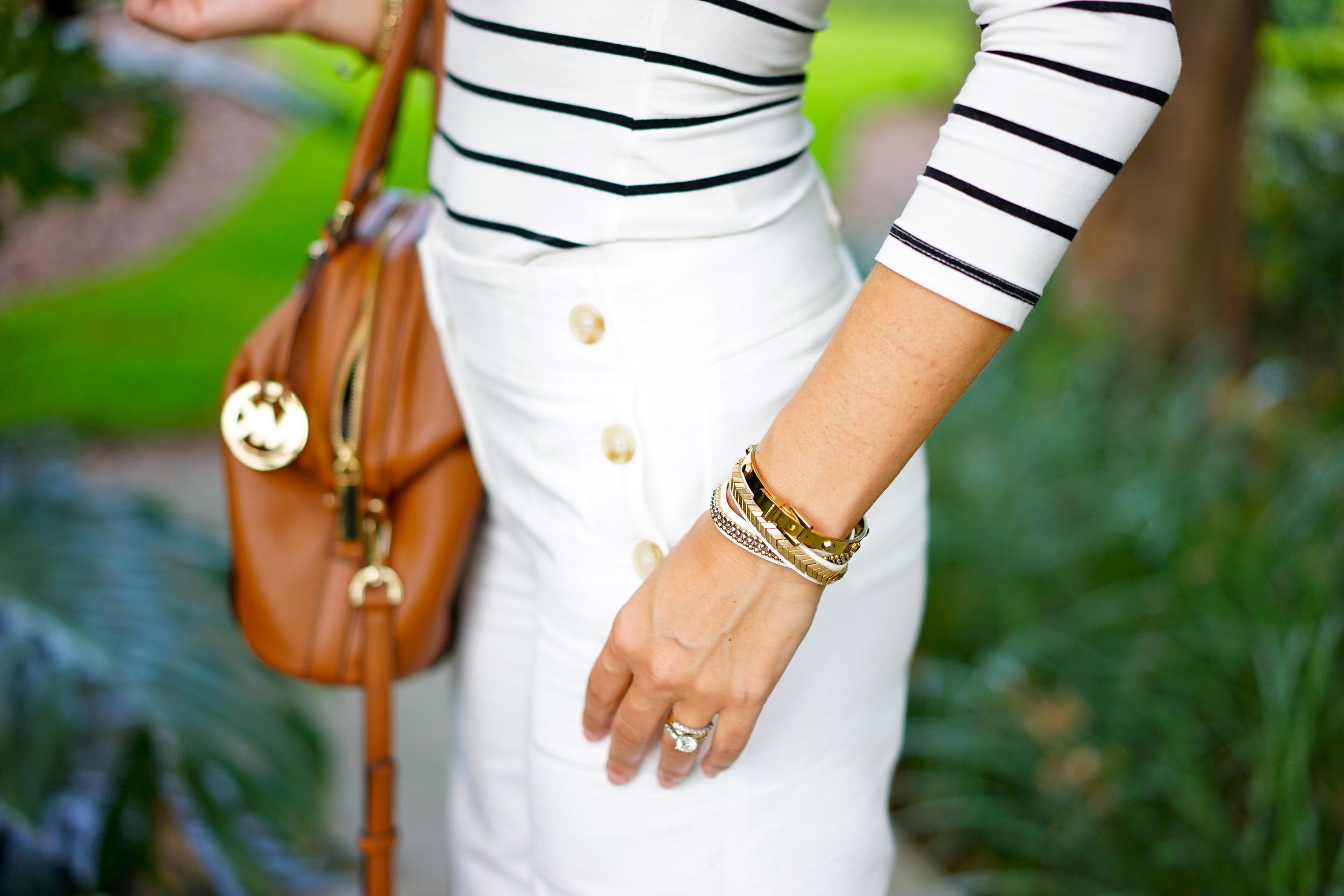Stripe top, sailor white pants