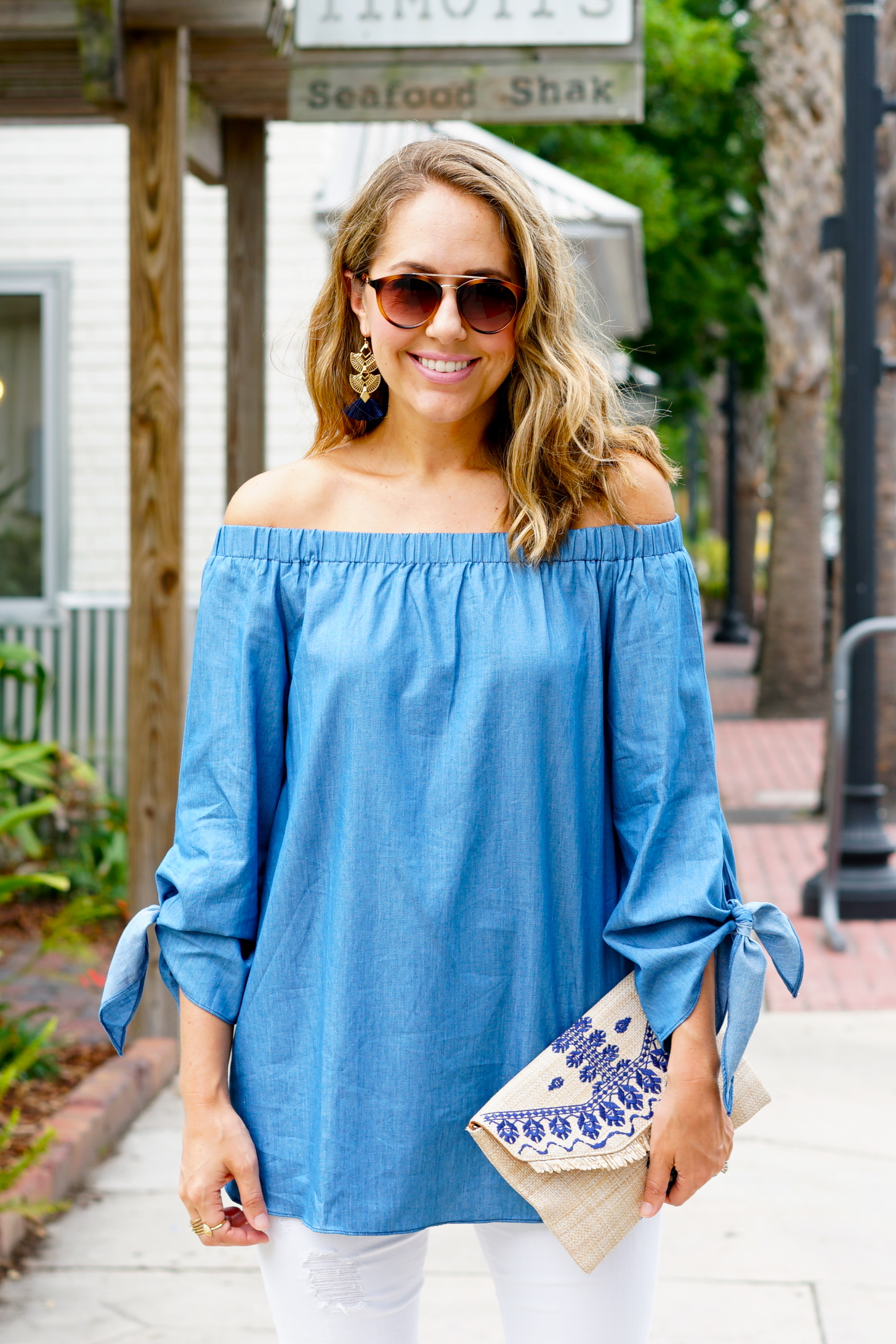 Chambray off shoulder tie sleeve shirt