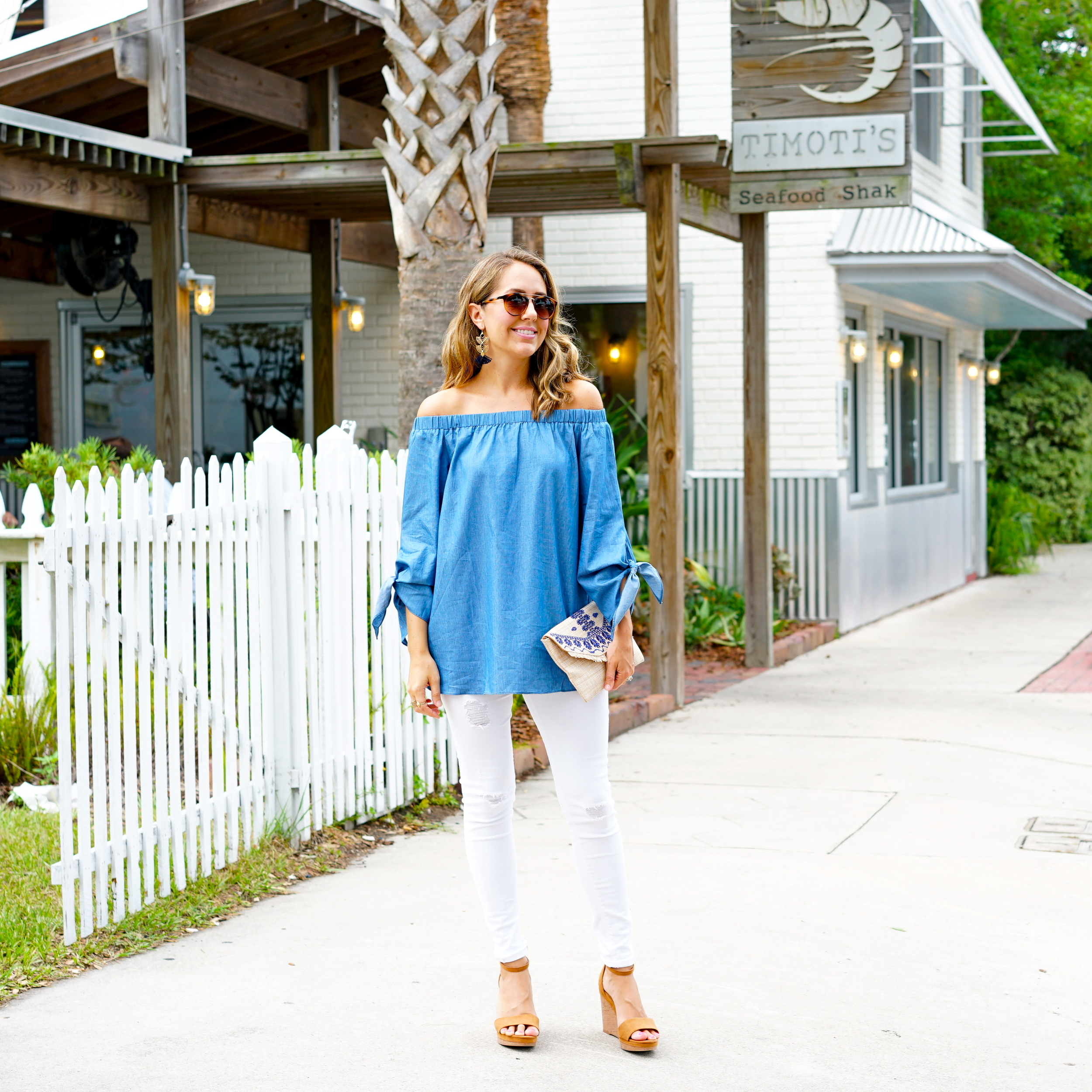 Off shoulder chambray top, white jeans, cognac wedges