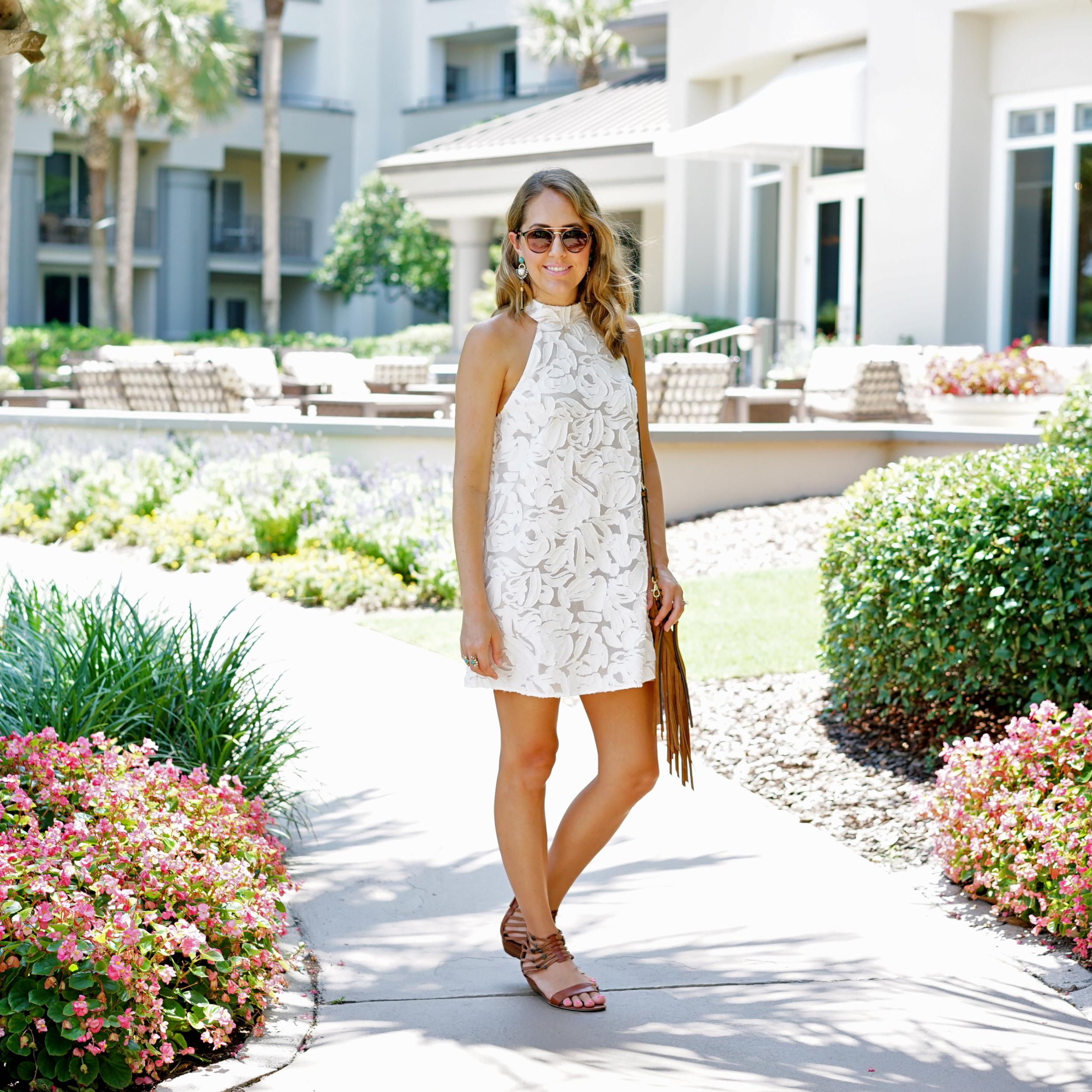 Ivory textured halter dress