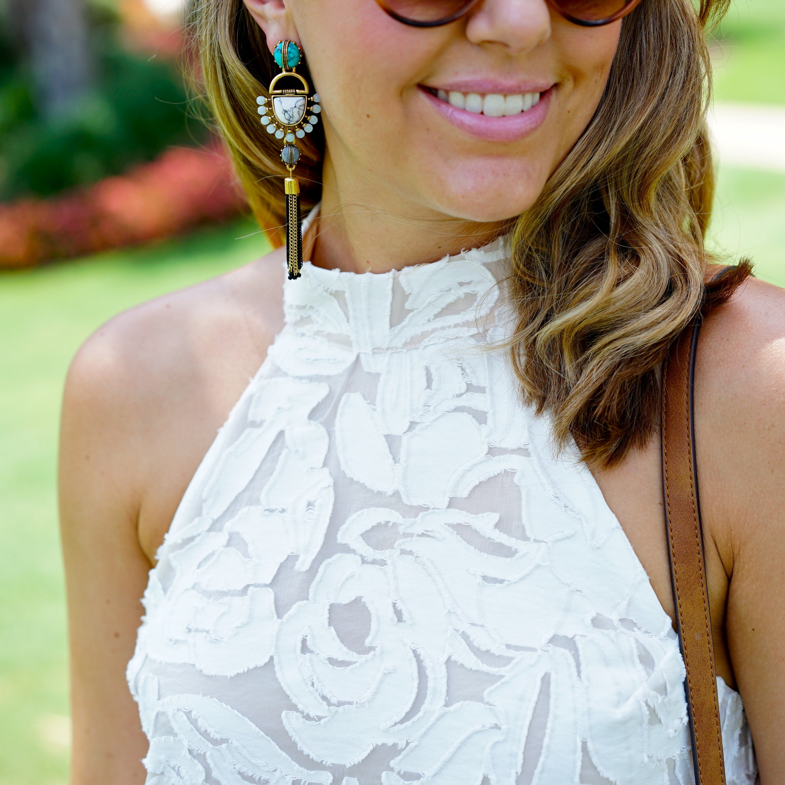 Ivory textured halter dress, turquoise earrings