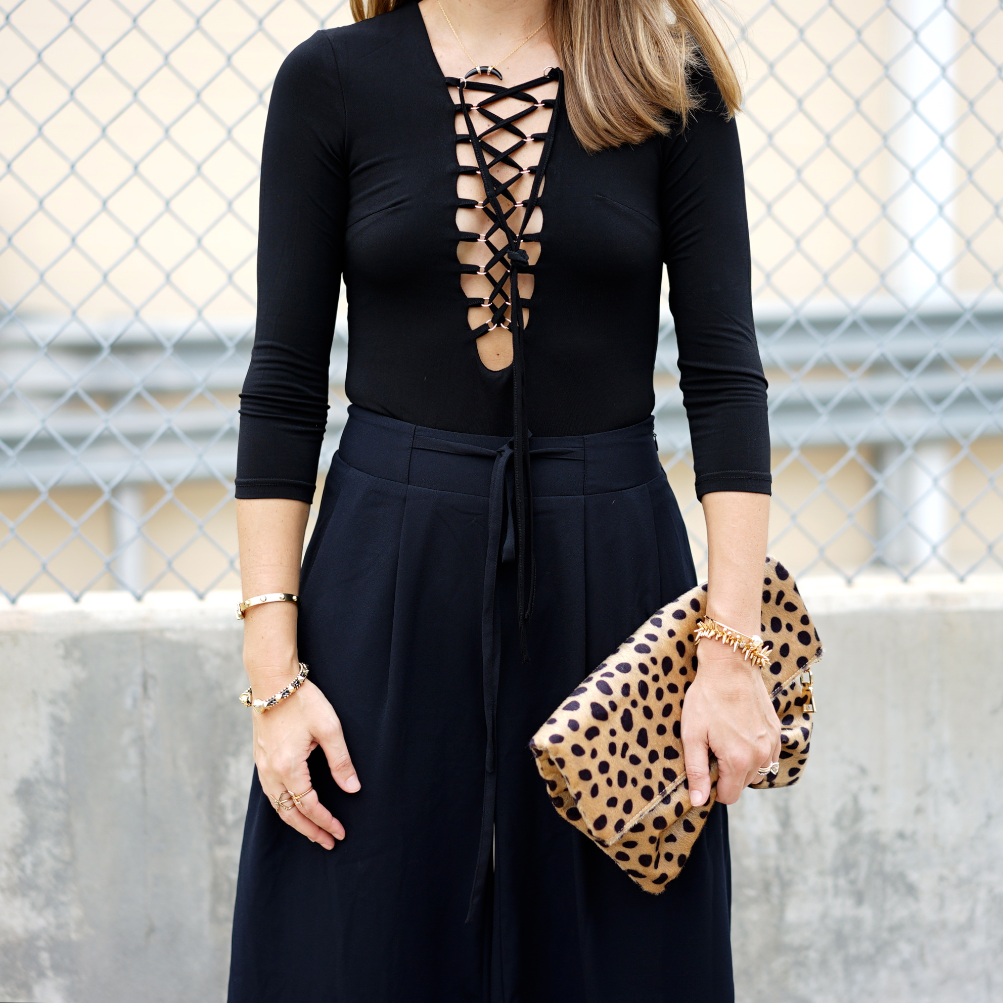Lace up bodysuit with black culottes