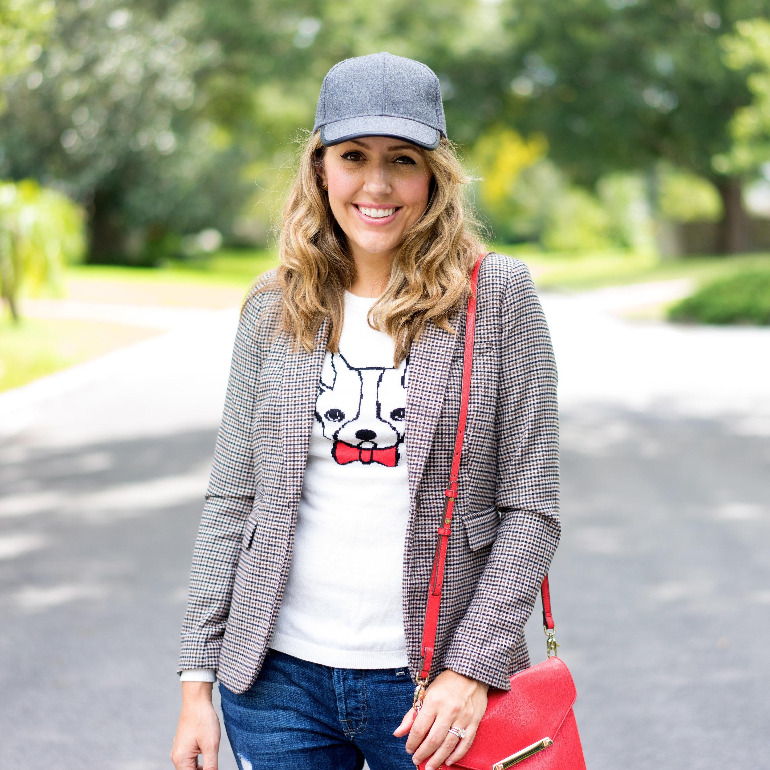 Plaid blazer, graphic sweater, wool ball cap