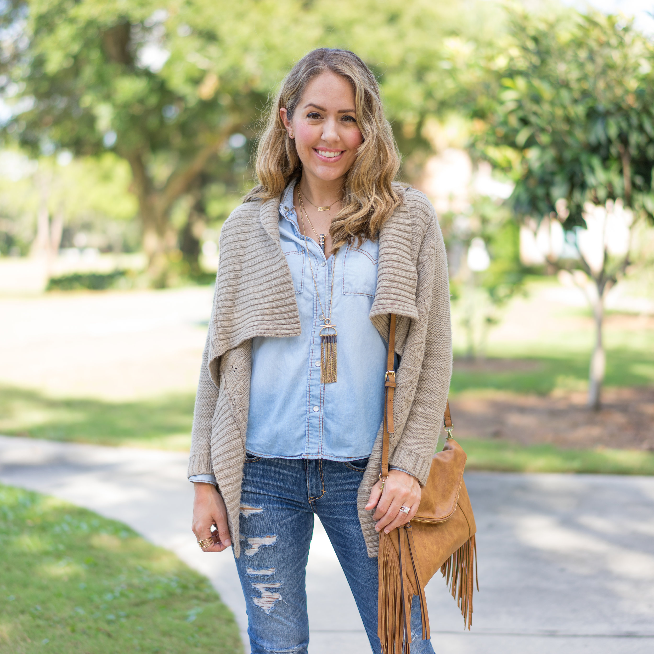 Cozy sweater, chambray top