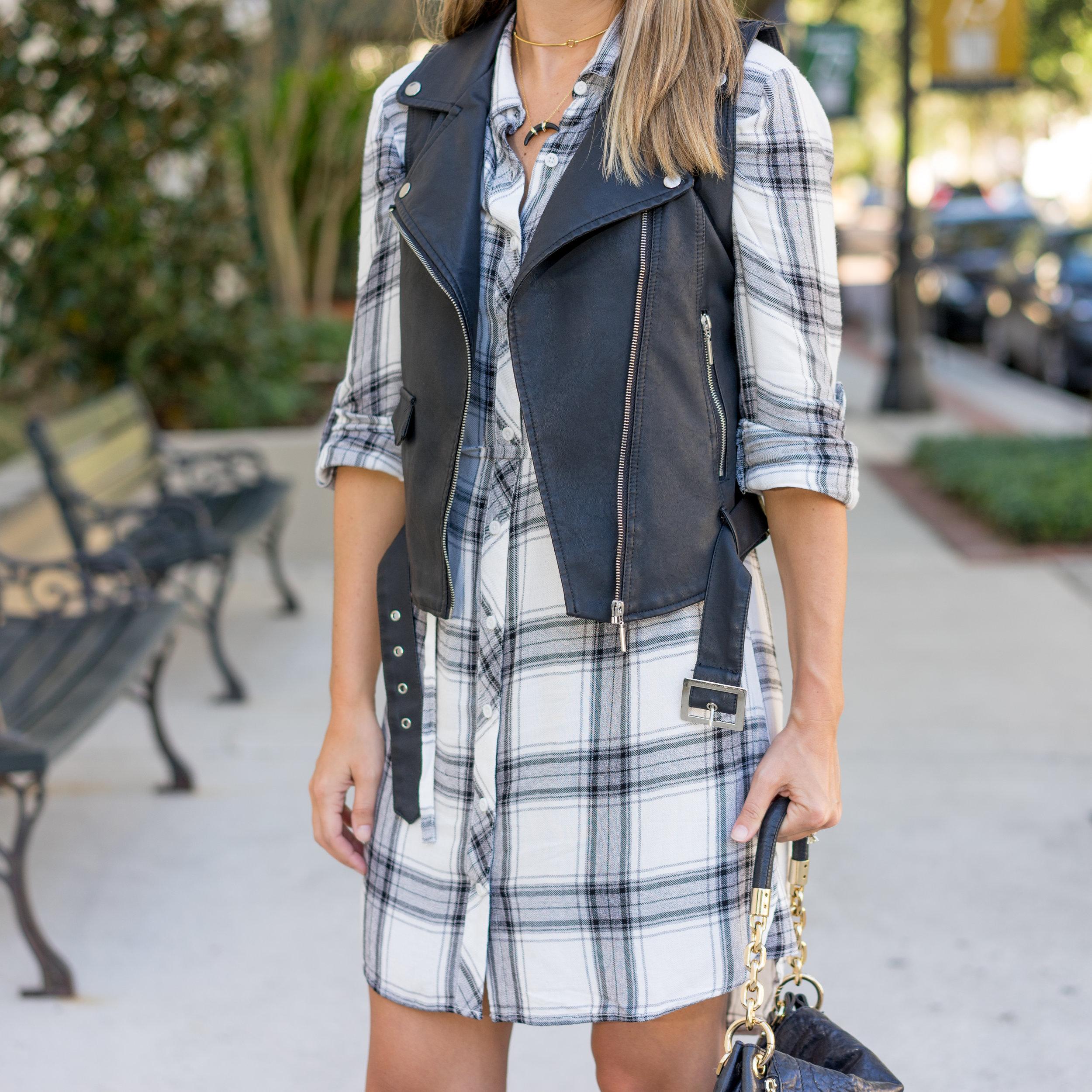 Moto vest, plaid dress