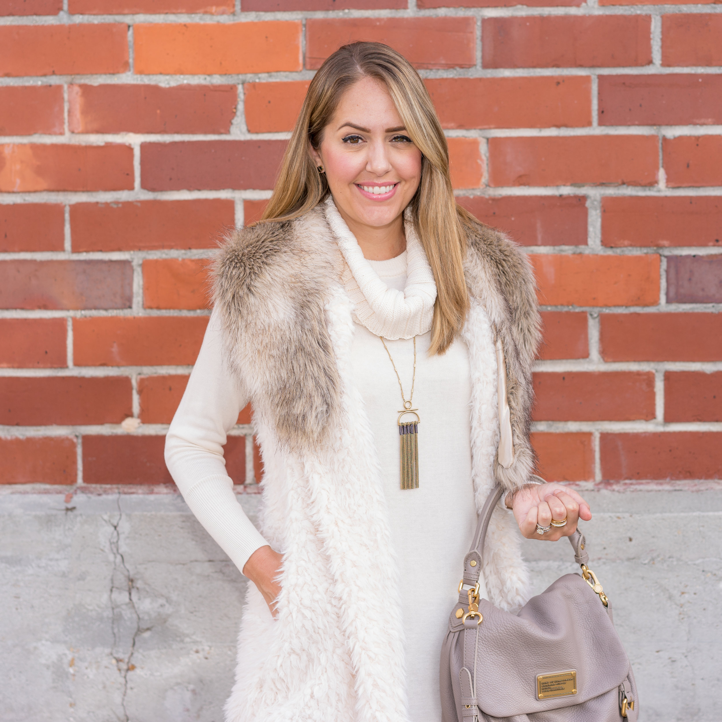 Ivory sweater dress, faux fur vest