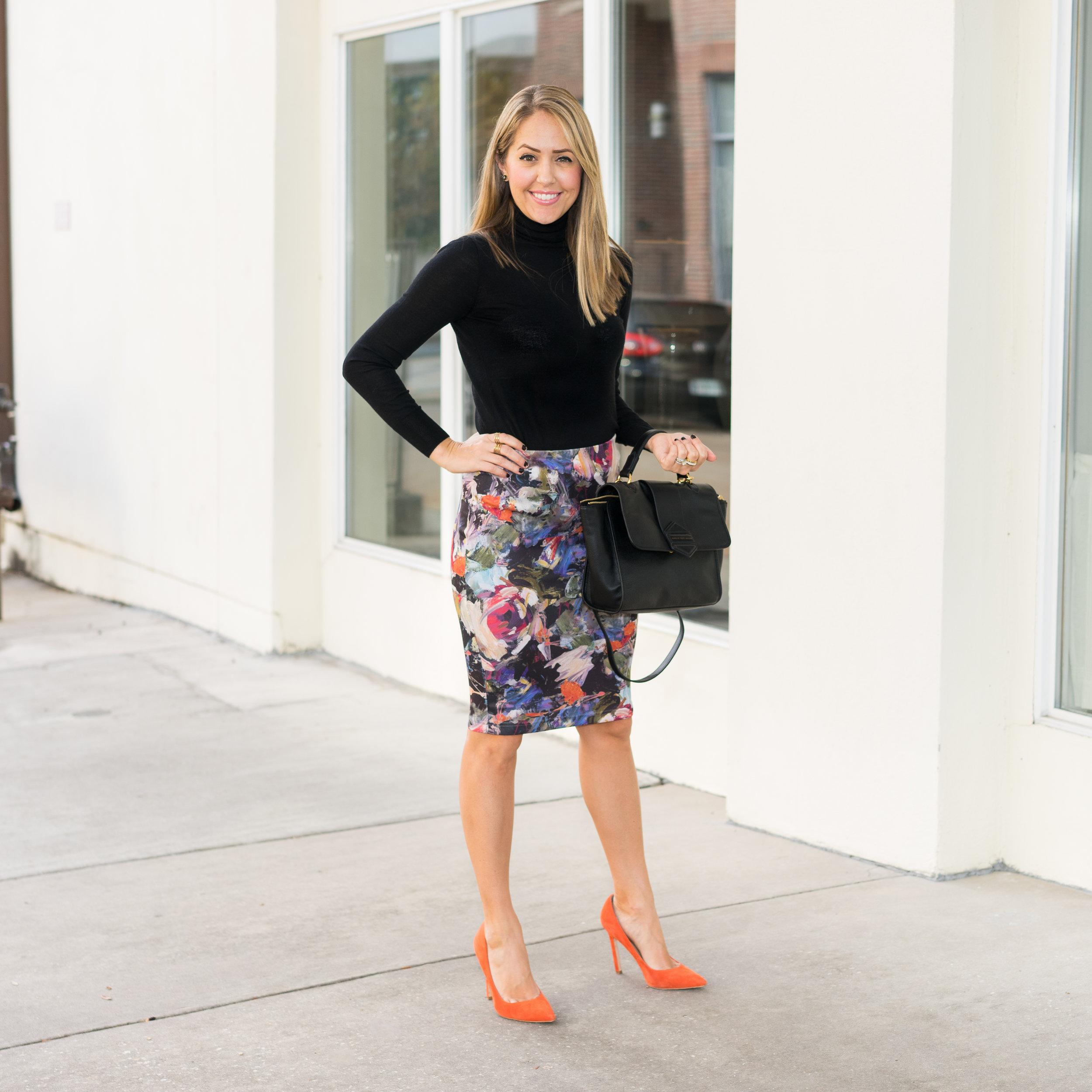 Black turtleneck, floral pencil skirt, orange pumps