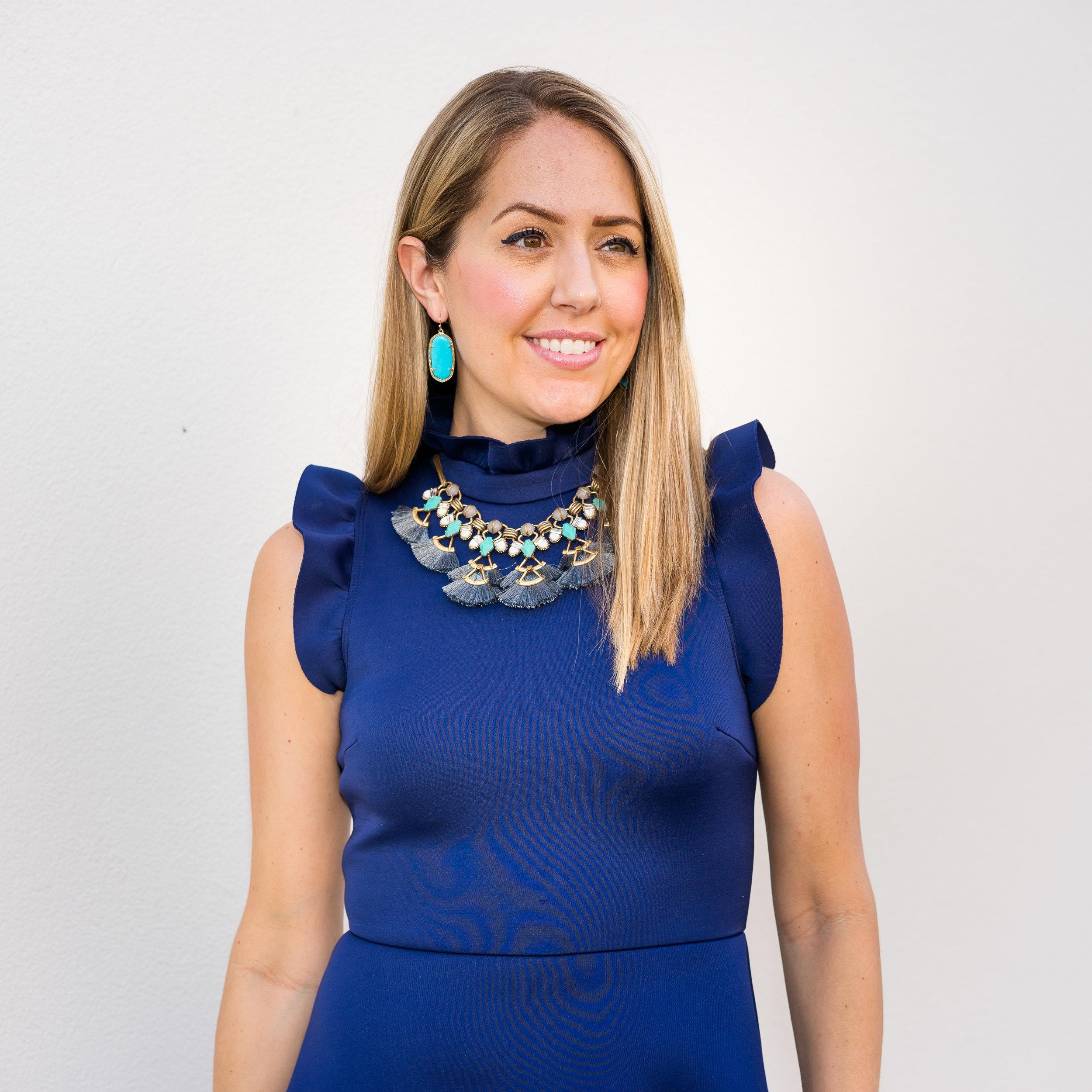 Navy dress, Stella Dot tassel necklace, turquoise Kendra Scott earrings