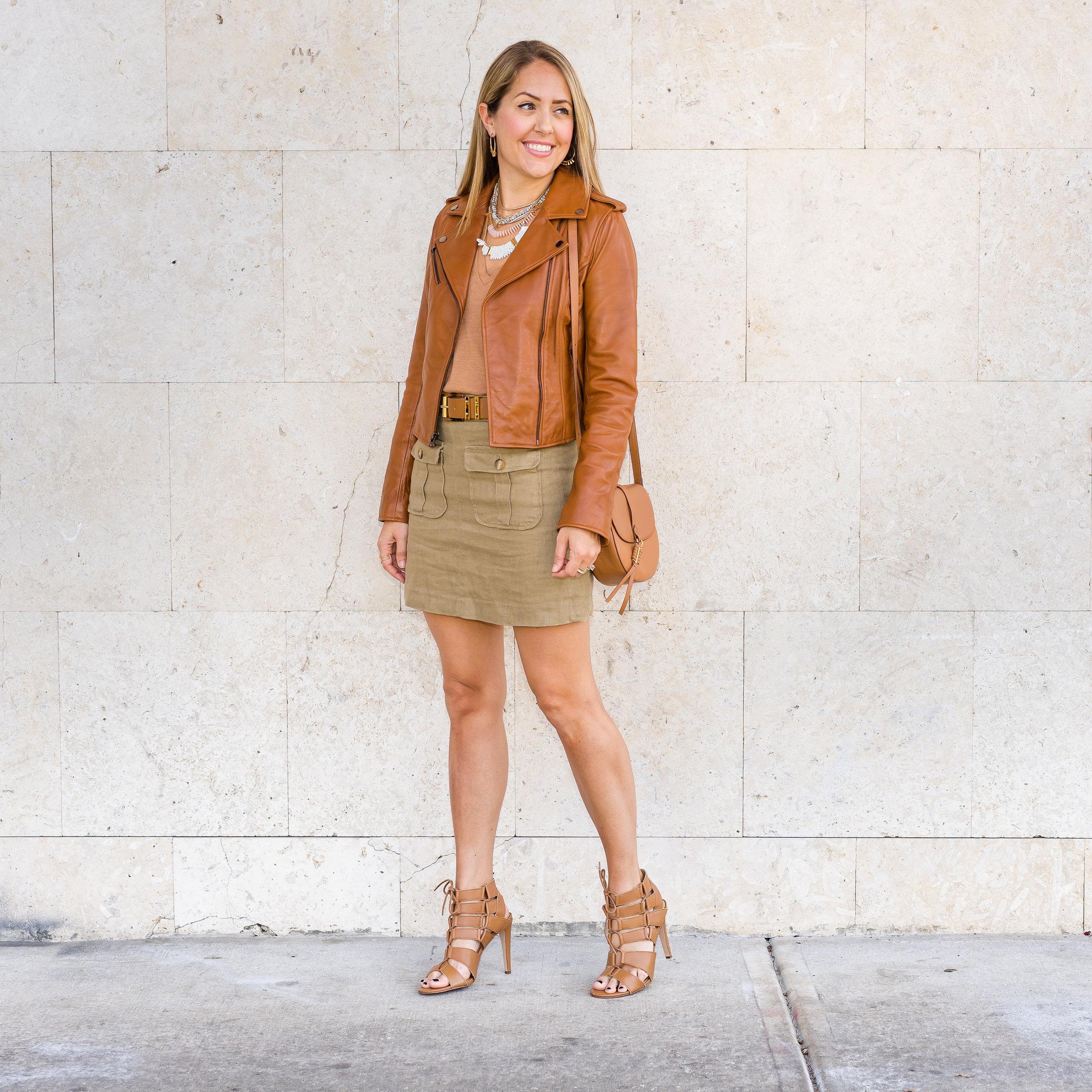 Cognac leather jacket, pocket front skirt