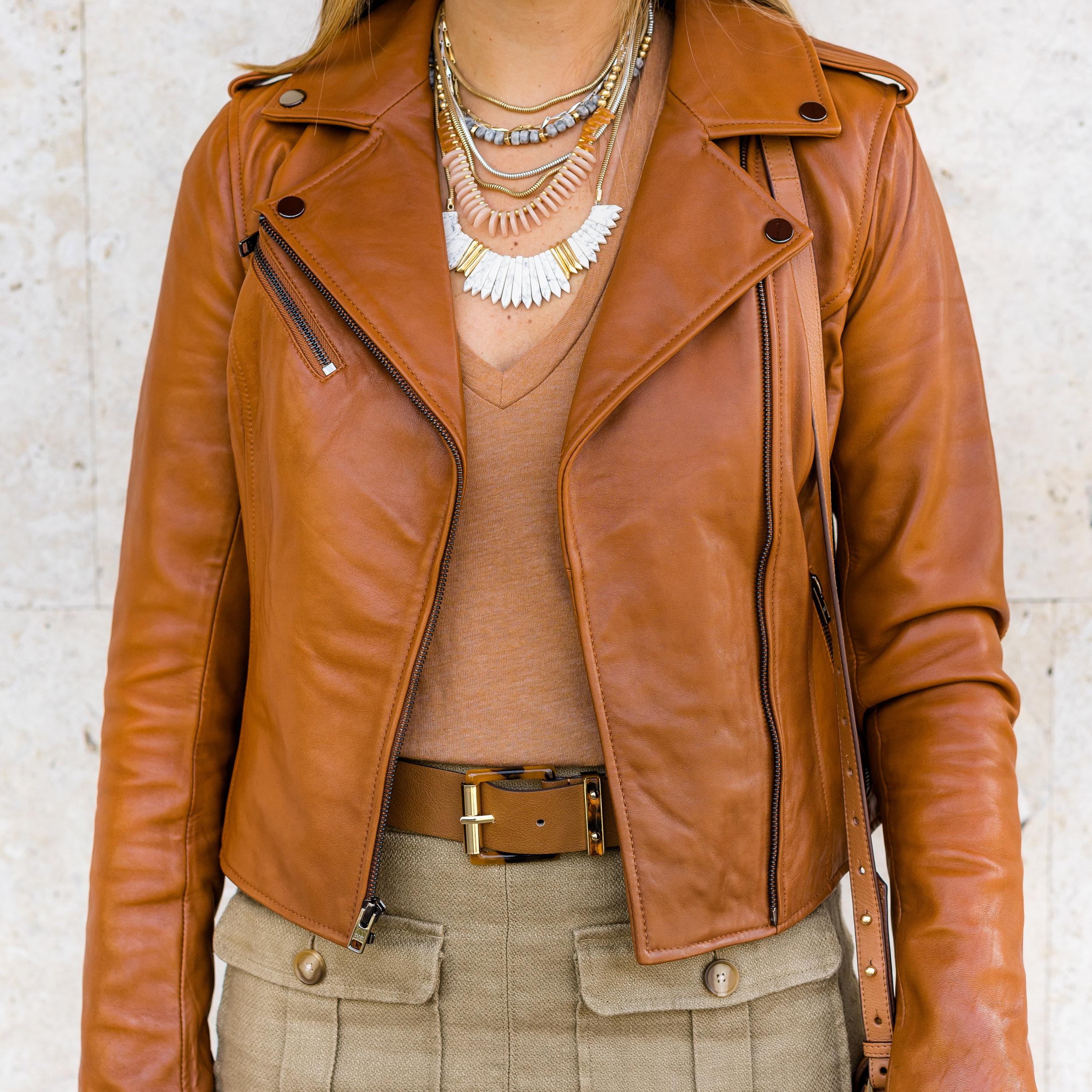 Cognac leather jacket, pocket front skirt, Stella & Dot Ezra