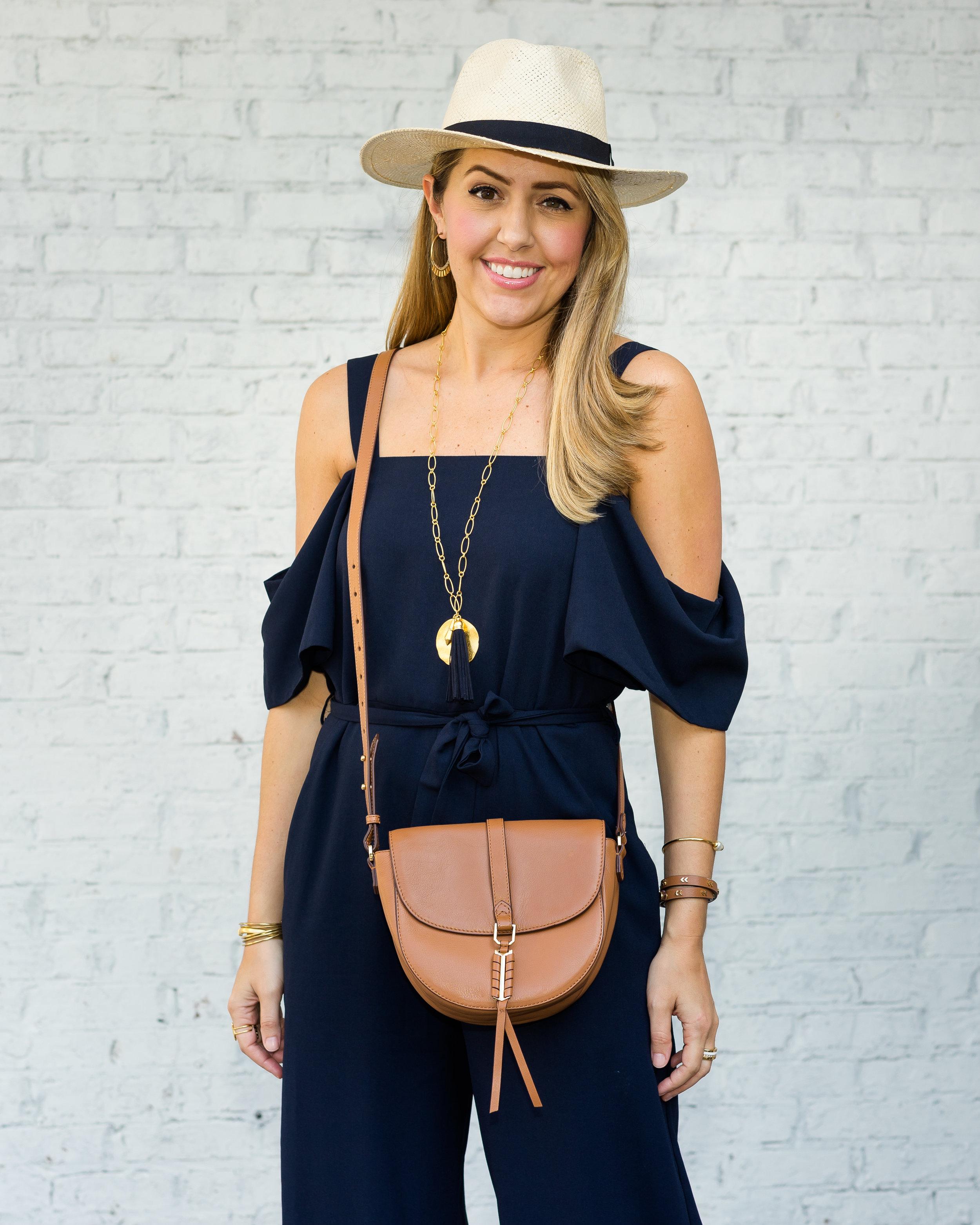 Navy cold shoulder jumpsuit, Panama hat, Covet purse