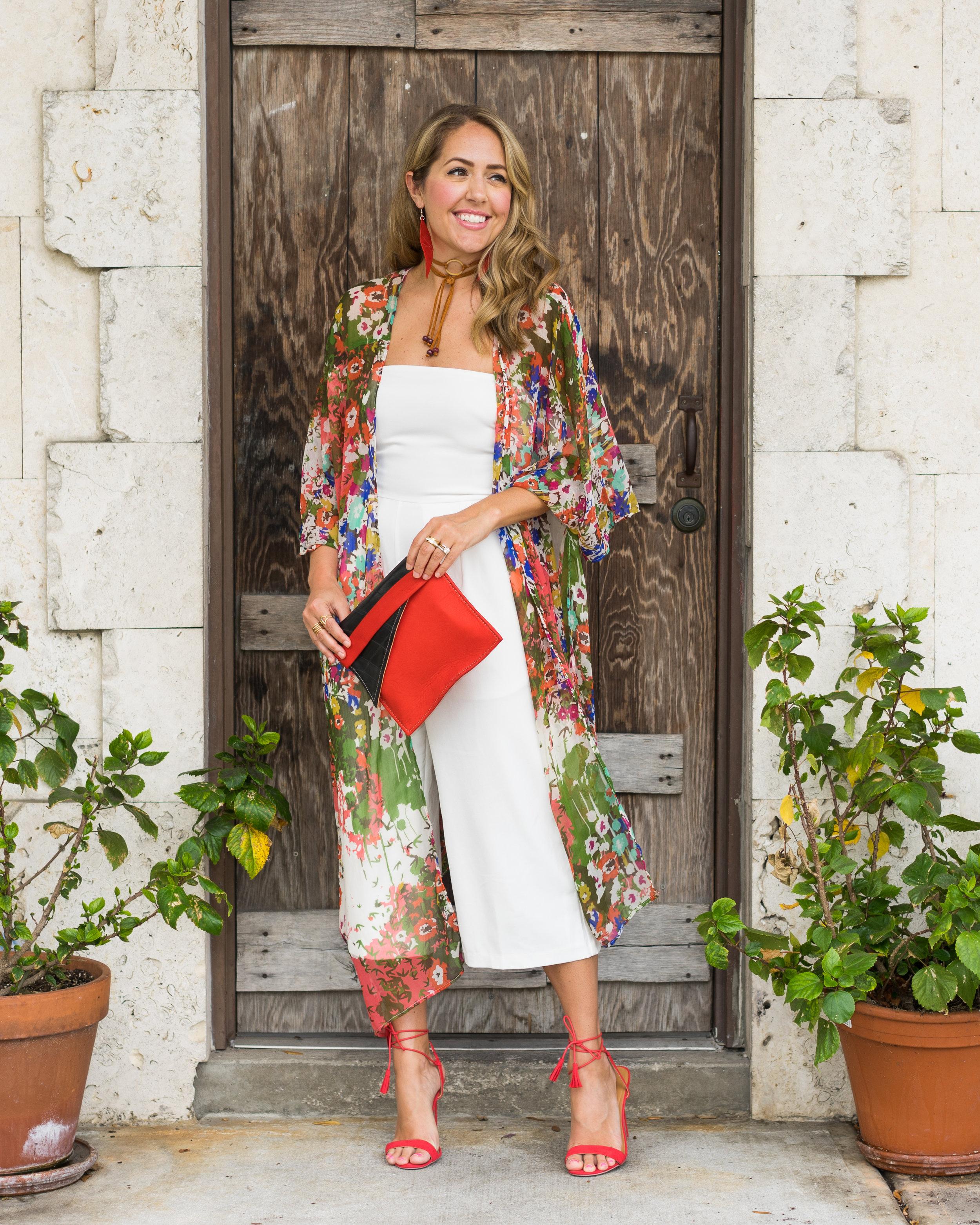 Kimono cardigan, white jumpsuit, red heels, Deux Mains fair trade accessories