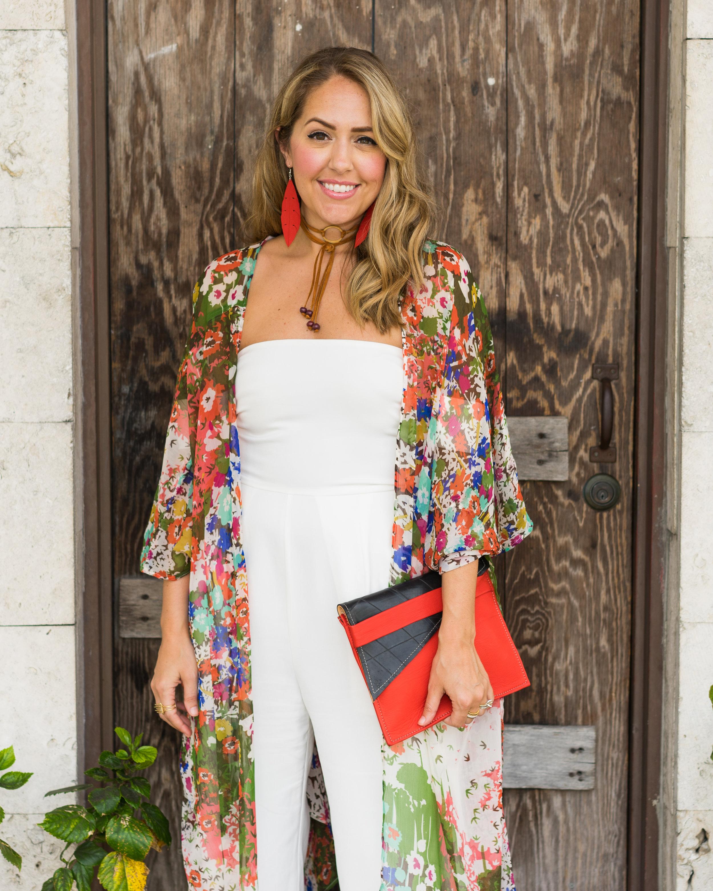 Kimono cardigan, white jumpsuit, Deux Mains fair trade accessories
