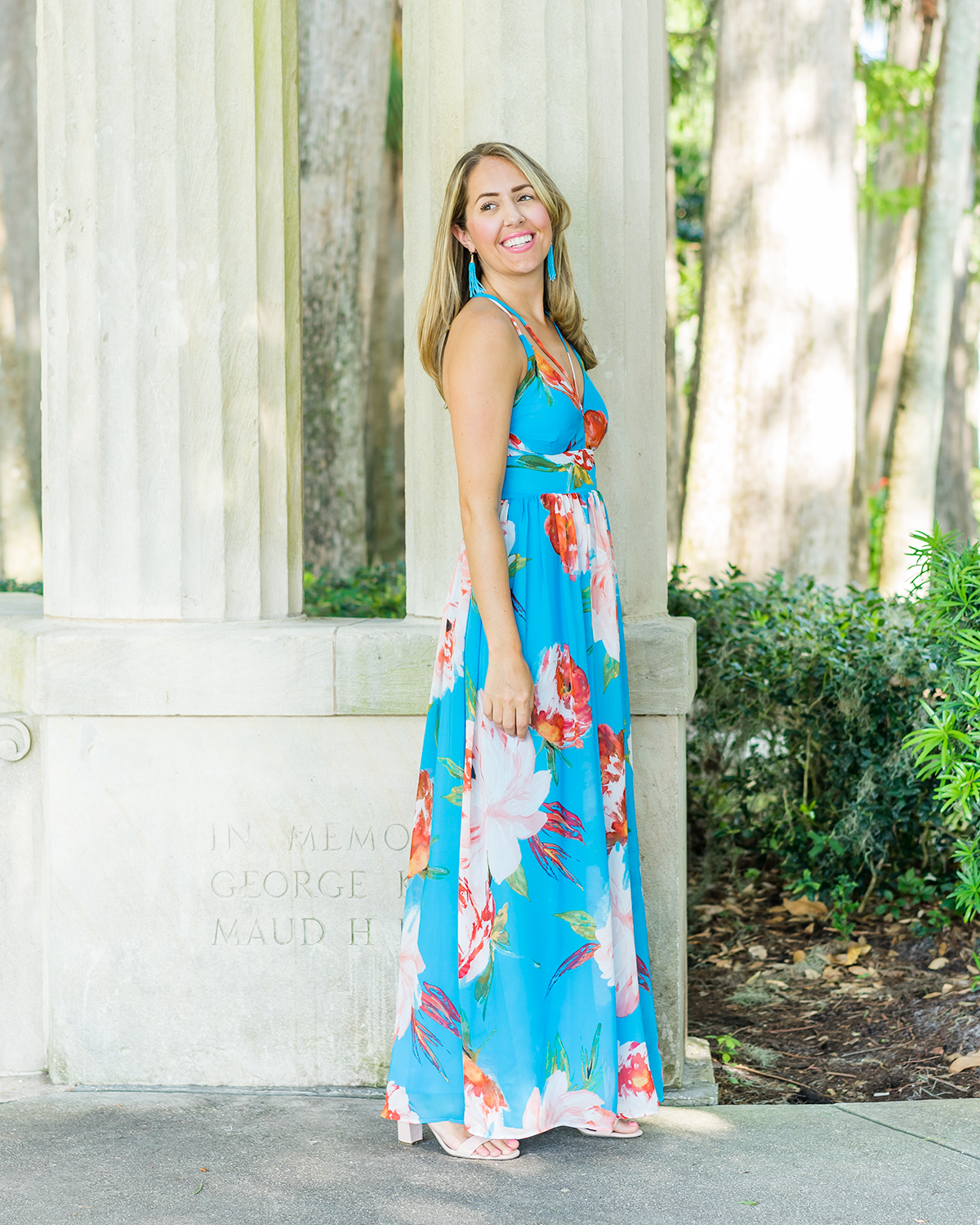 JCPenney bright blue maxi and earrings