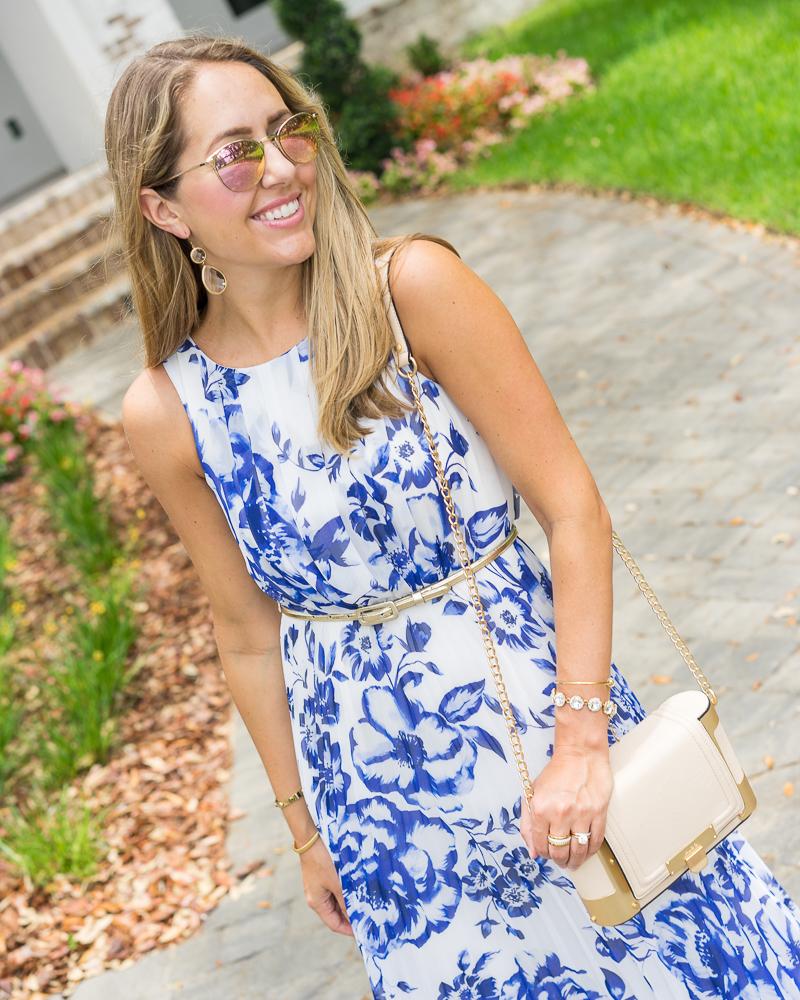Eliza J blue print maxi dress