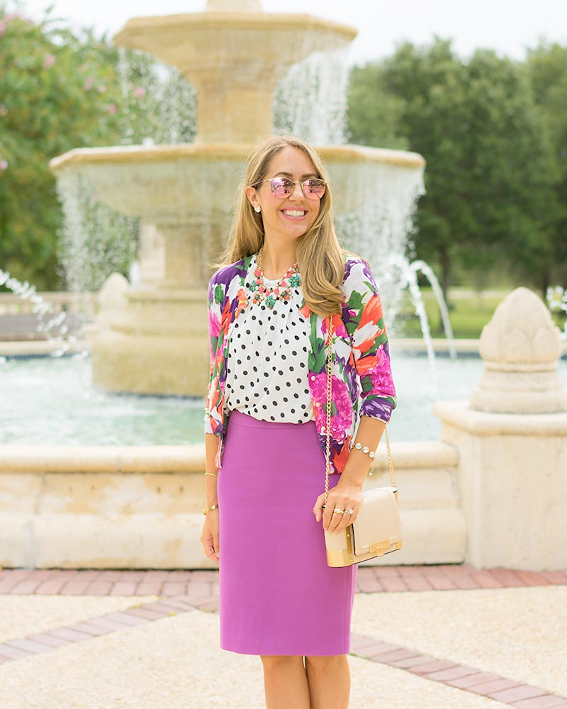 thredUP floral cardigan, purple pencil skirt