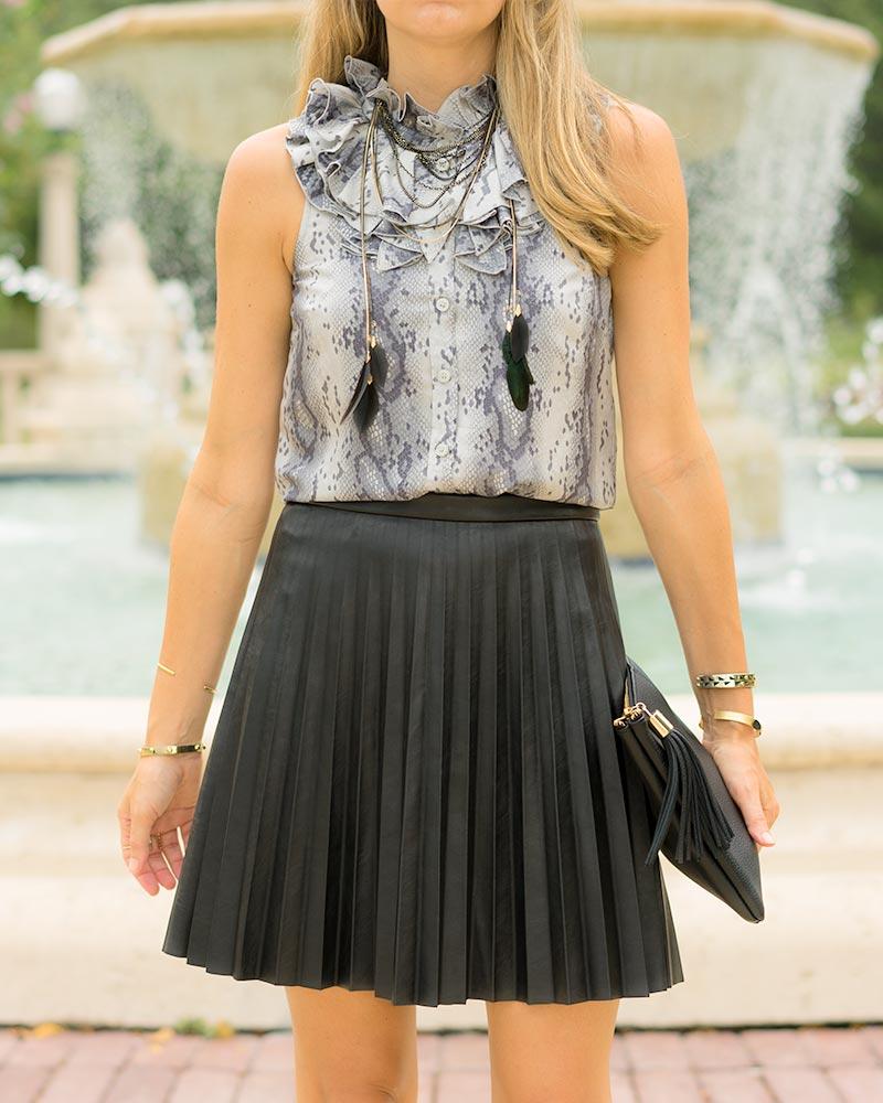 thredUP snake print top, pleated leather skirt