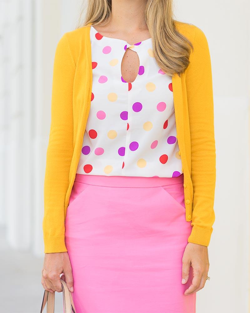 Mustard cardigan, polka dots, pink pencil skirt