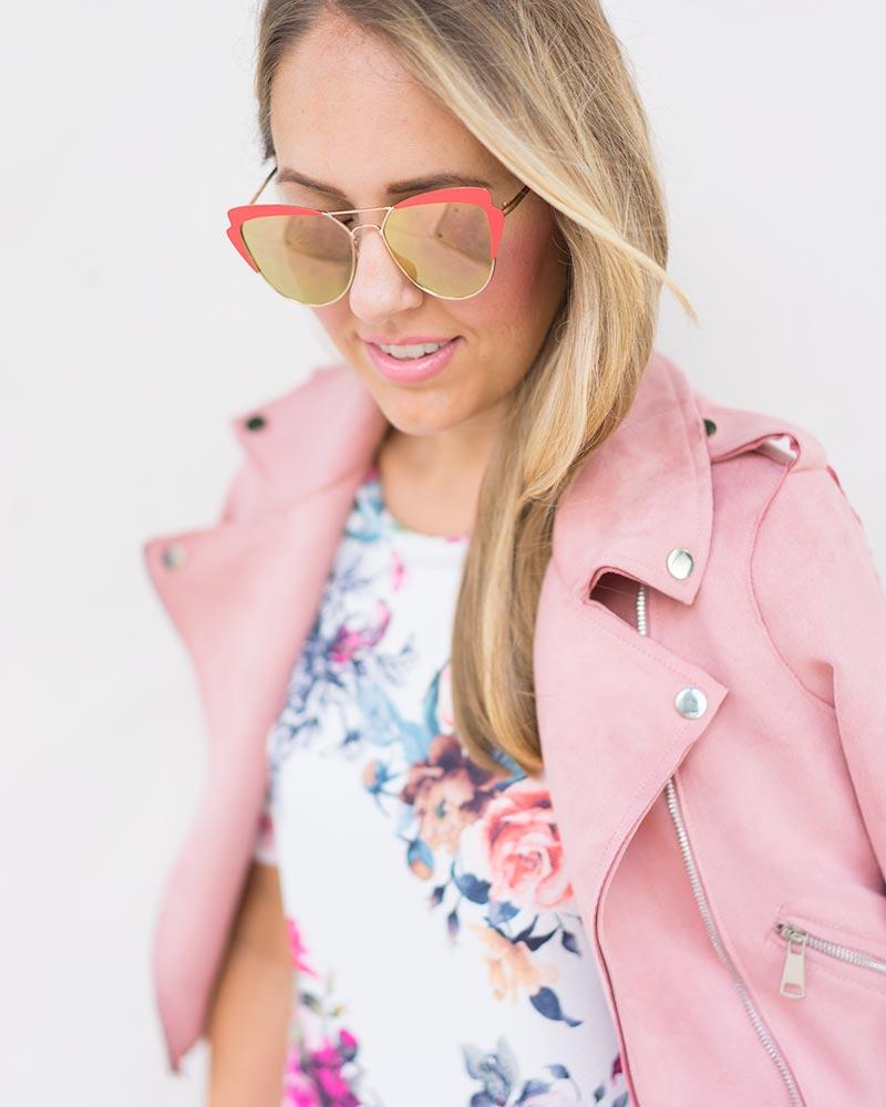 blush moto jacket, floral dress