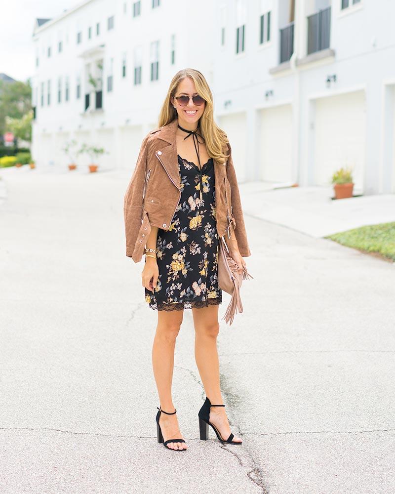 Suede jacket, floral slip dress, choker
