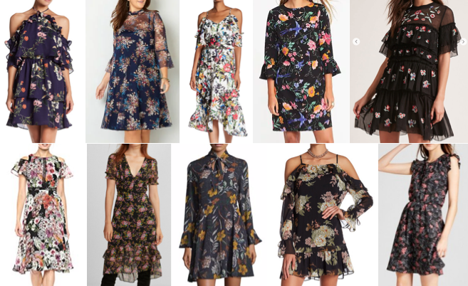 Floral ruffle dresses on a budget