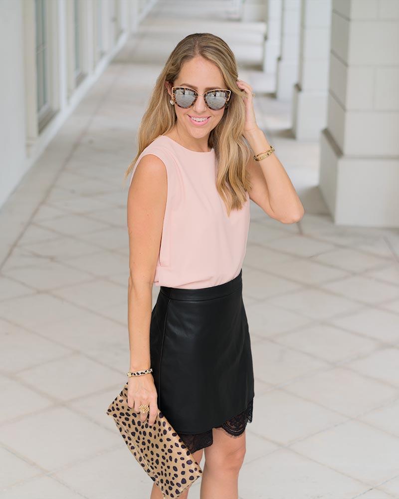 Blush pink, leather skirt, leopard clutch