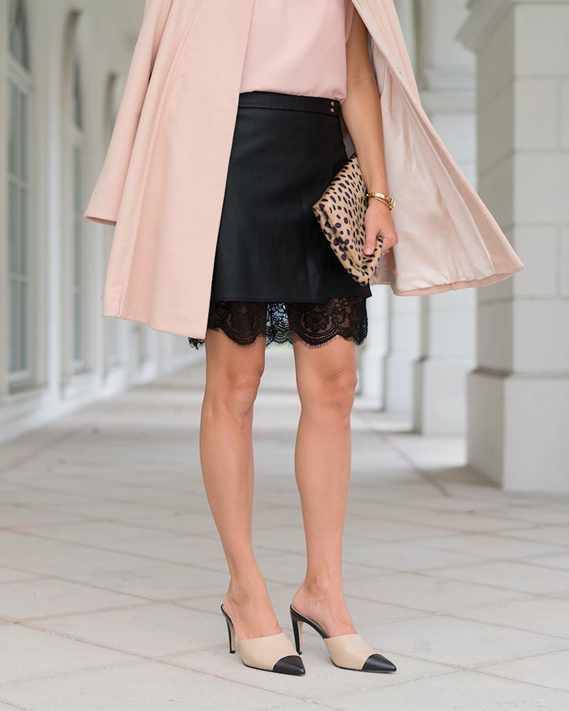 Blush pink coat, leather skirt, leopard clutch