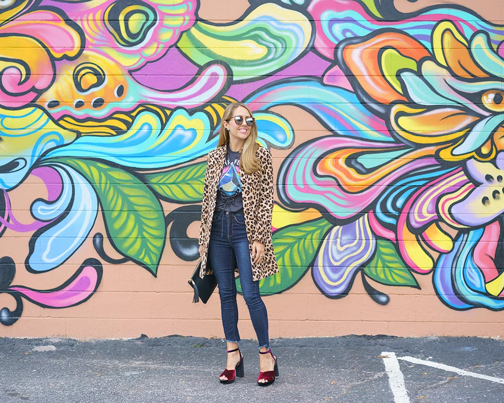 Leopard coat, graphic tee, velvet shoes