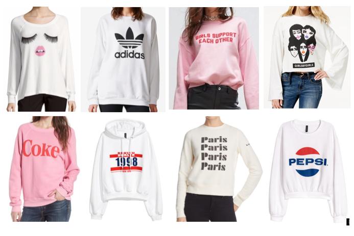 White graphic sweatshirts on a budget