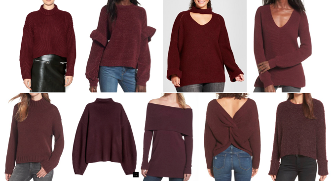 Burgundy sweaters on a budget