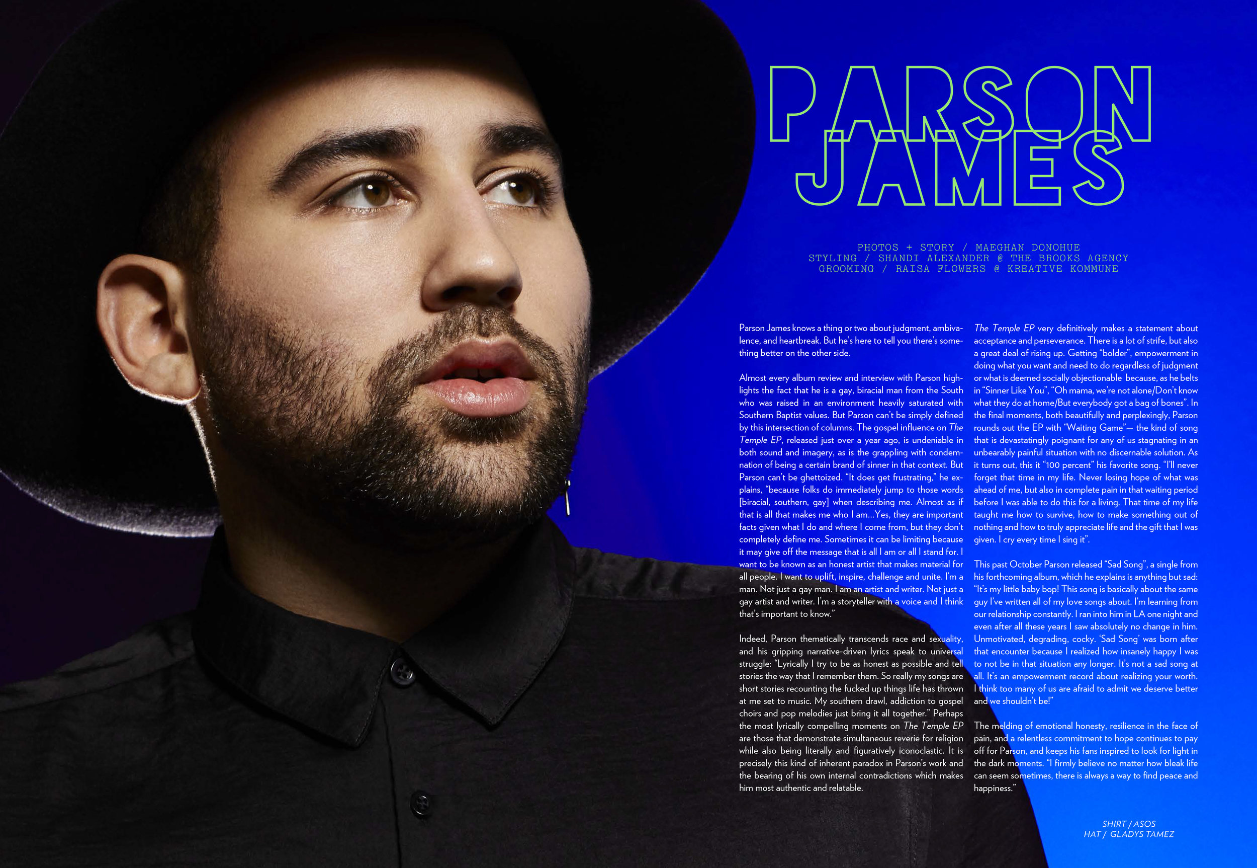 PARSON JAMES x LADYGUNN MAGAZINE