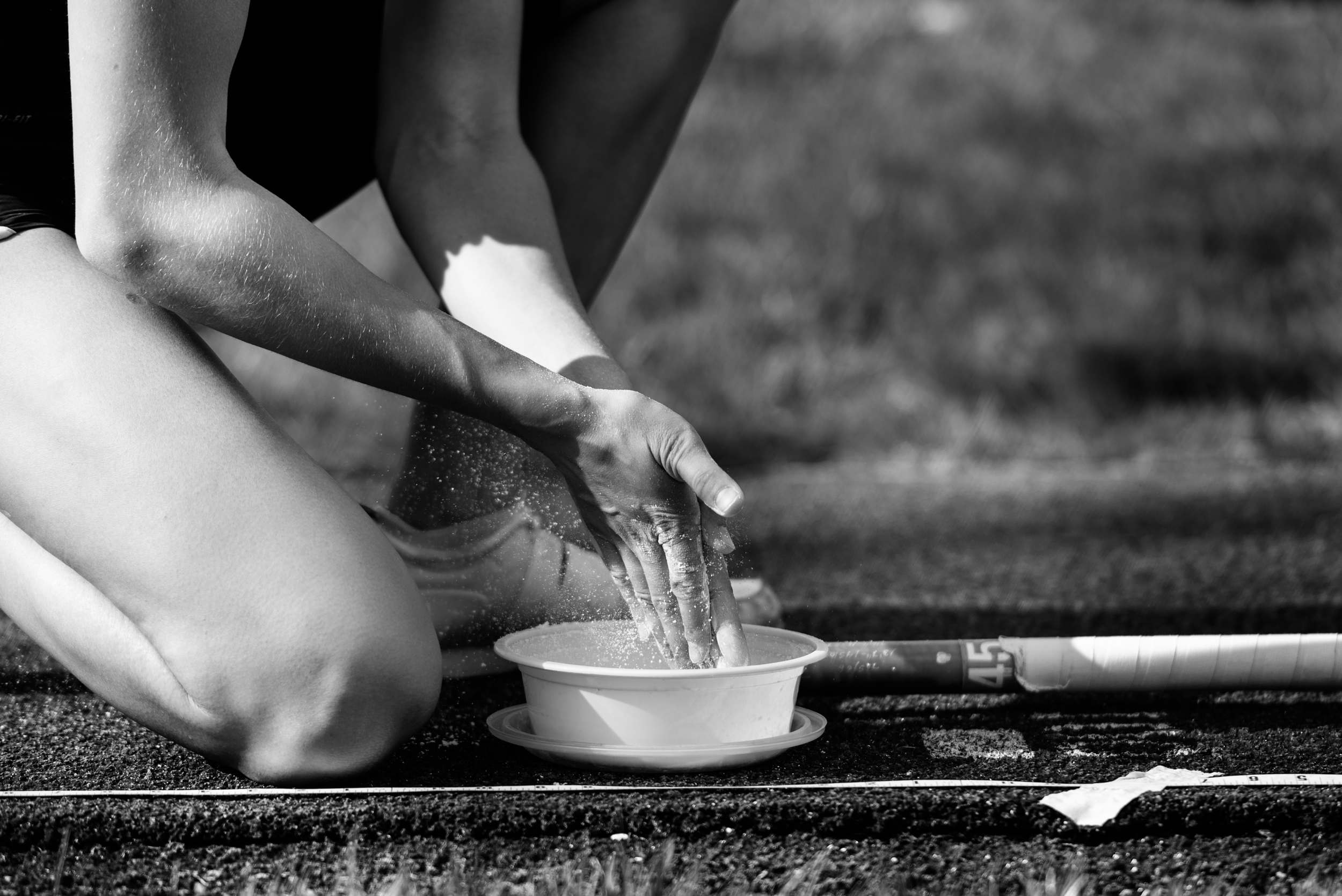 Pole vaulter chalk hands photography virginia track and field