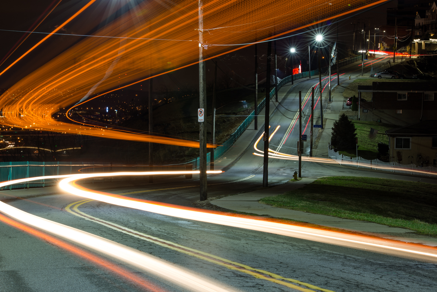 These strange light trails were the result of a double decker bus passing by!