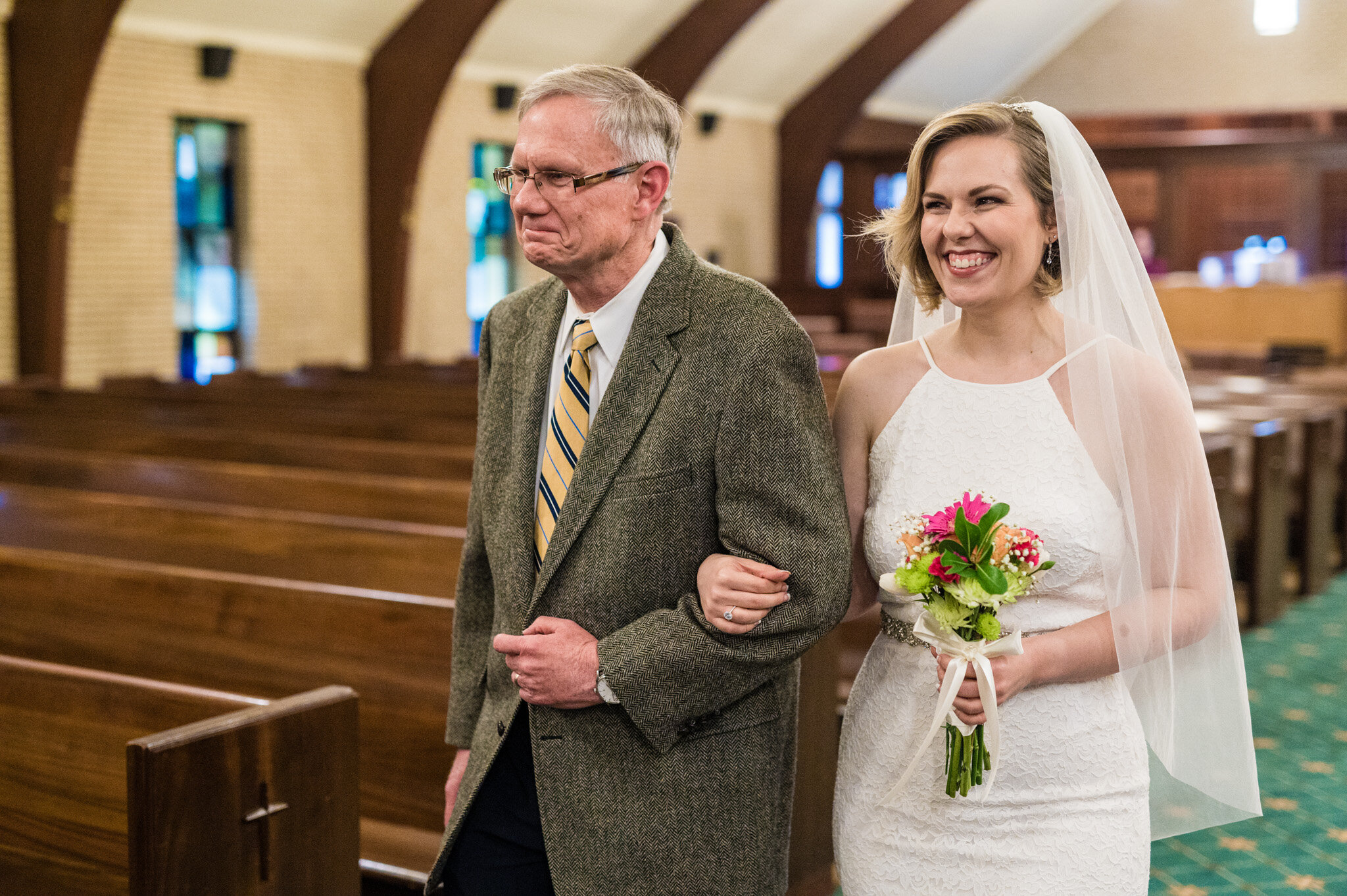 Dad walks his daughter down the aisle