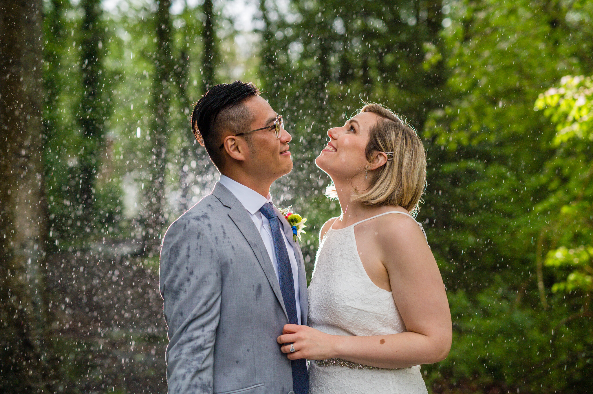 Rainy day wedding portraits