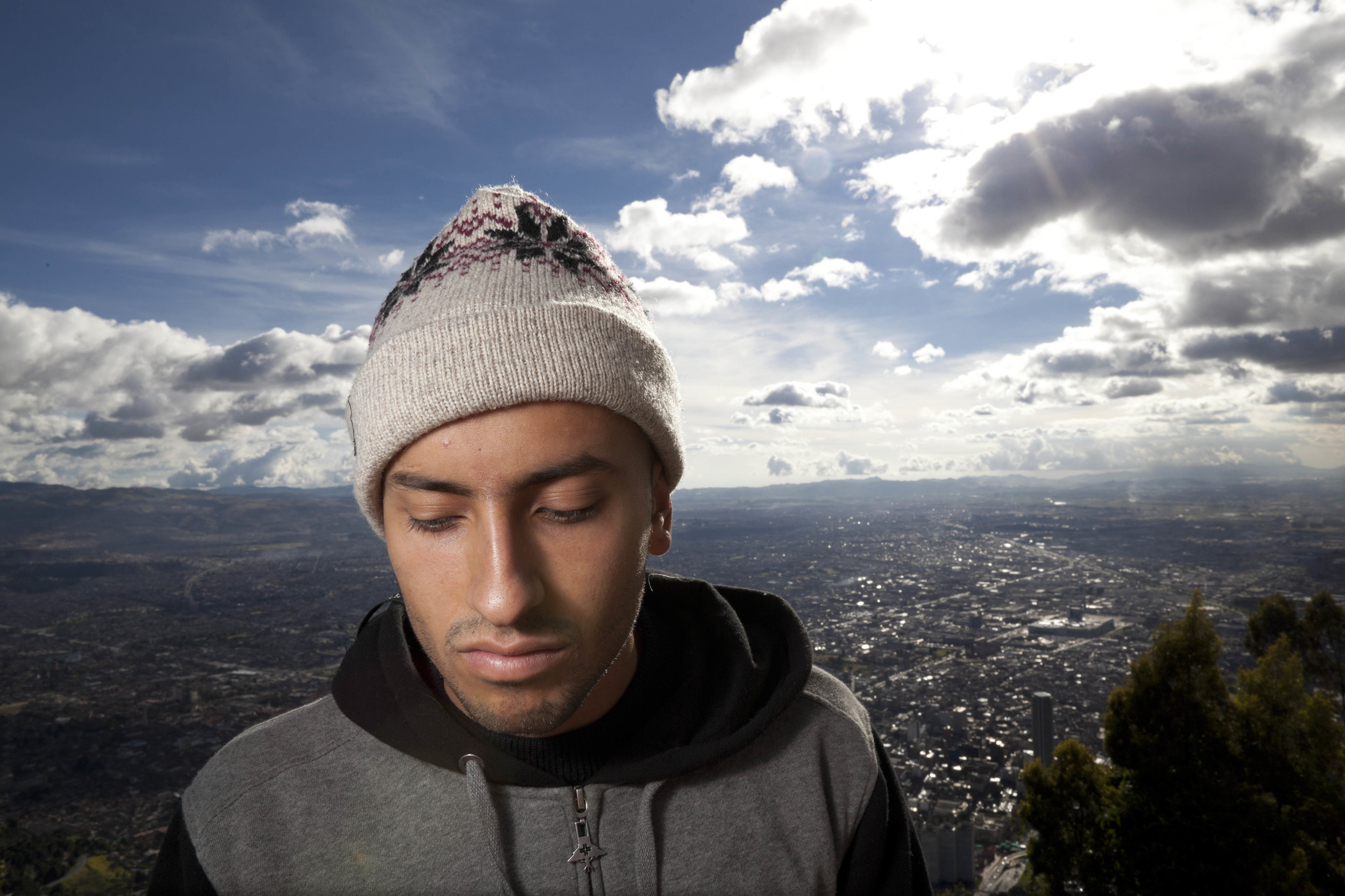 Bogotá. 25 July 2012. Felipe with his hometown of Bogotá stretched out behind him.