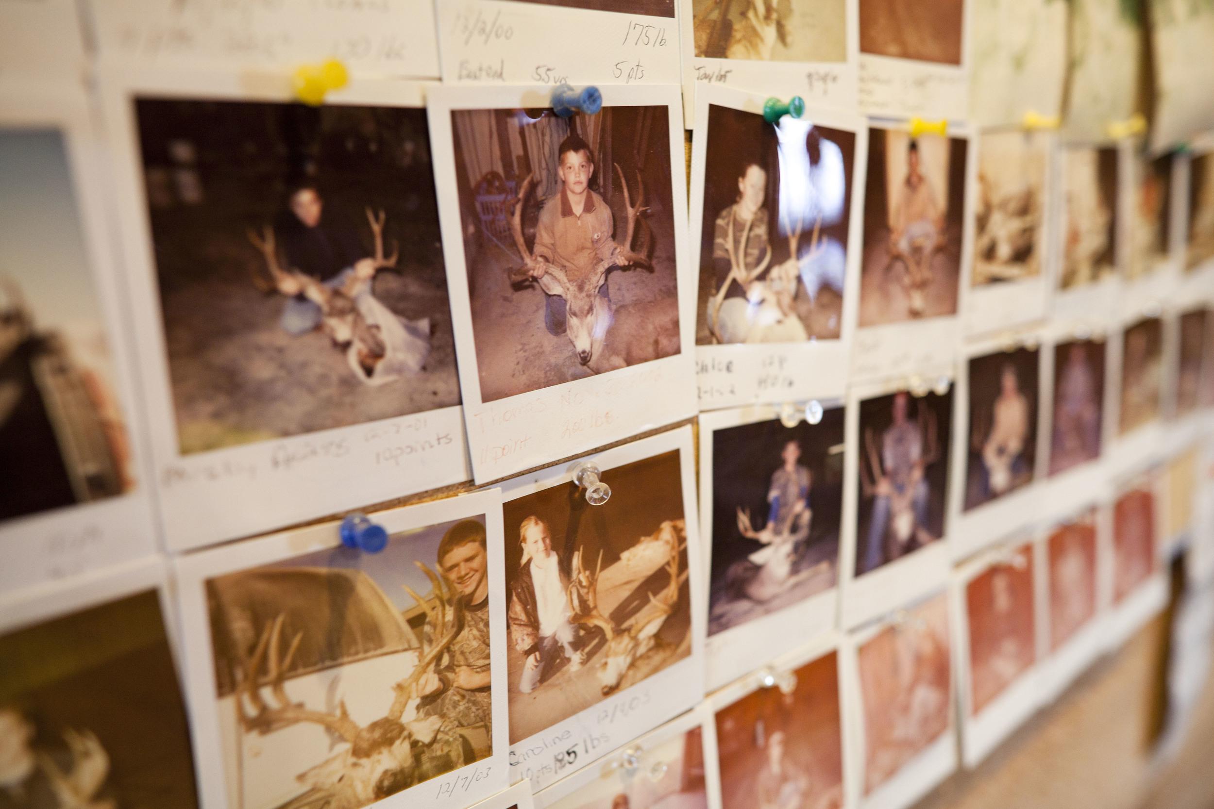 USA. Texas. Marfa. August 2013. Polaroid photos of shot deer.