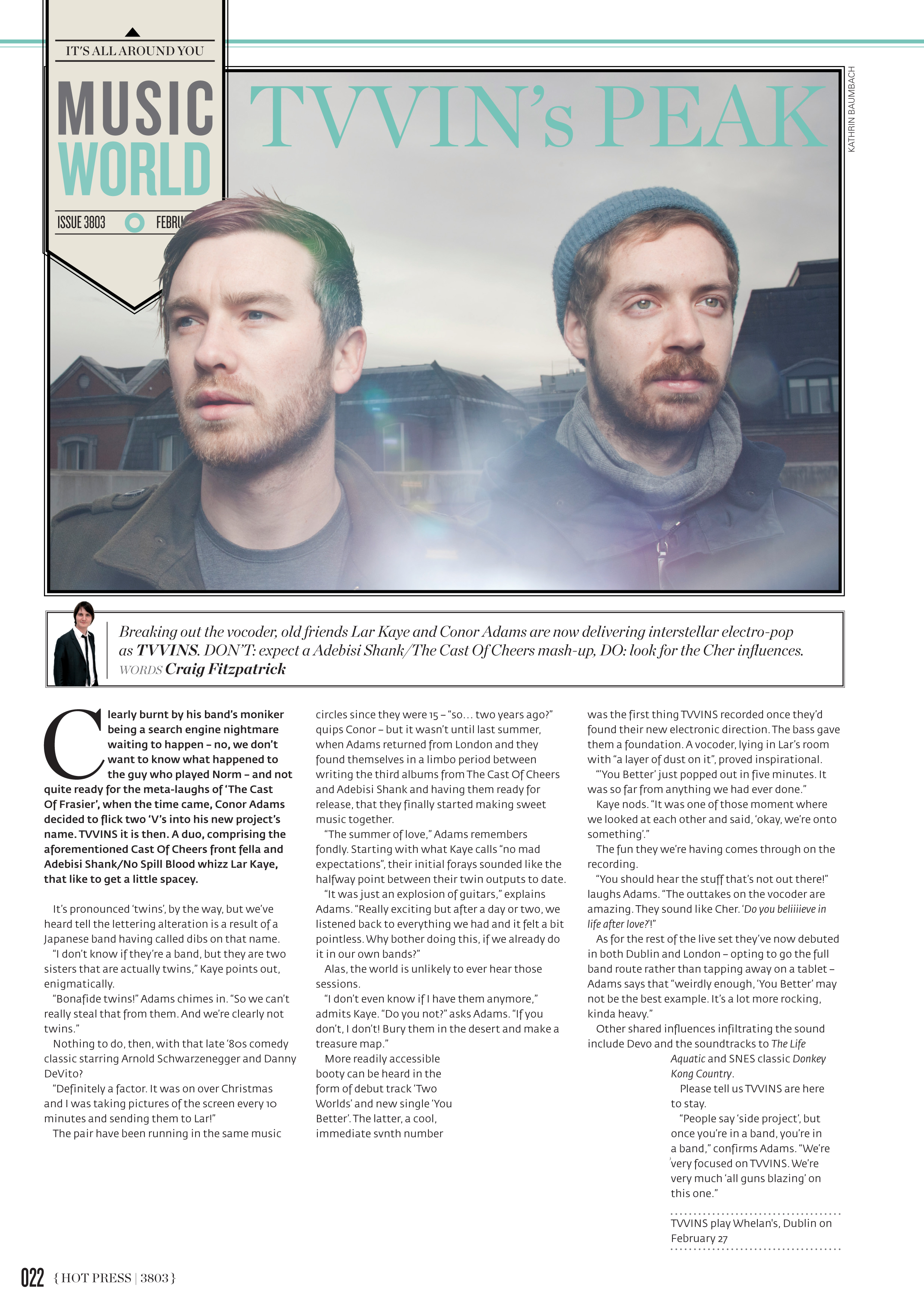 TVVINS  shot for    Hot Press    Magazine