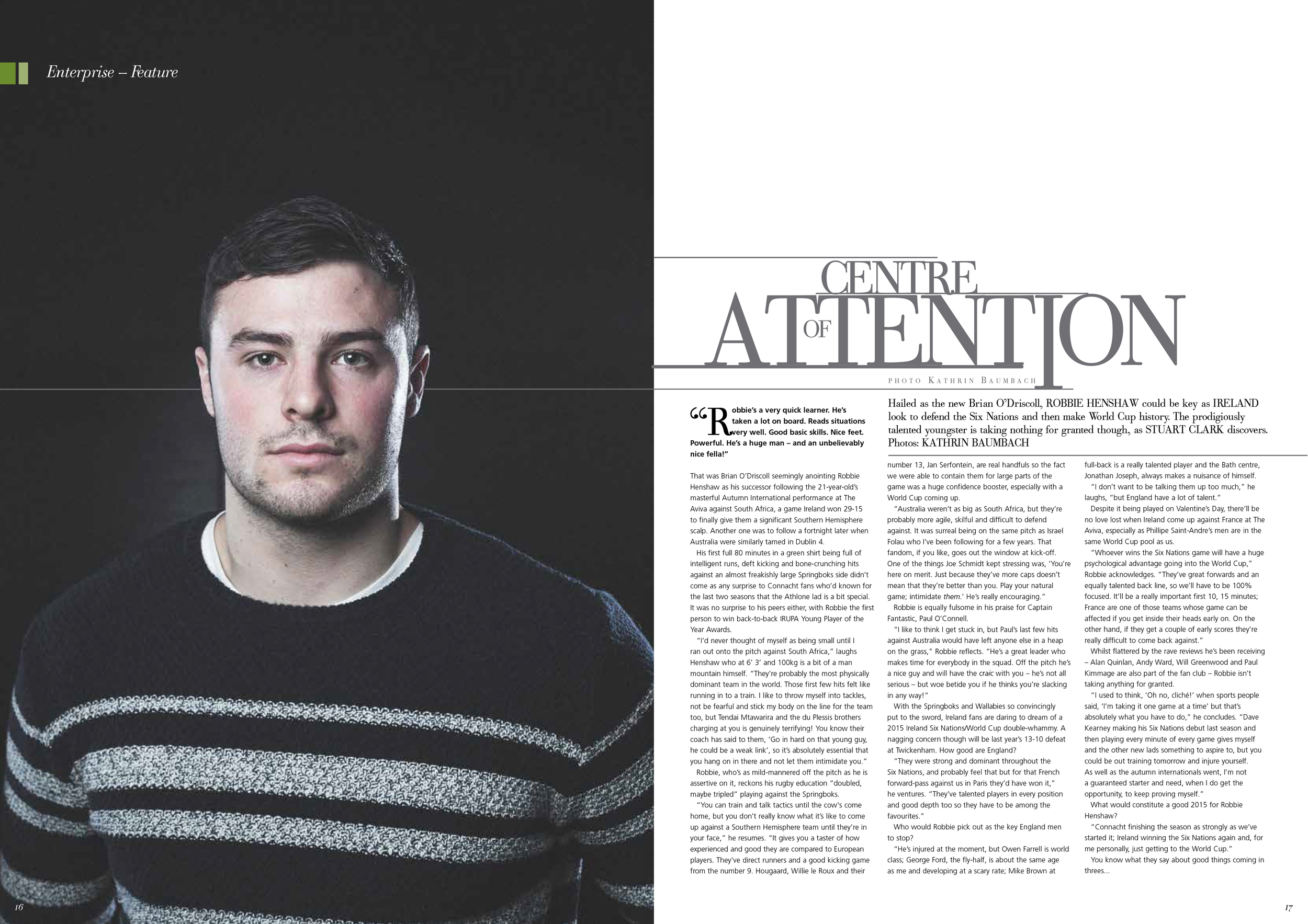 Irish Rugby player Robbie Henshaw photographed for Enterprise Magazine.